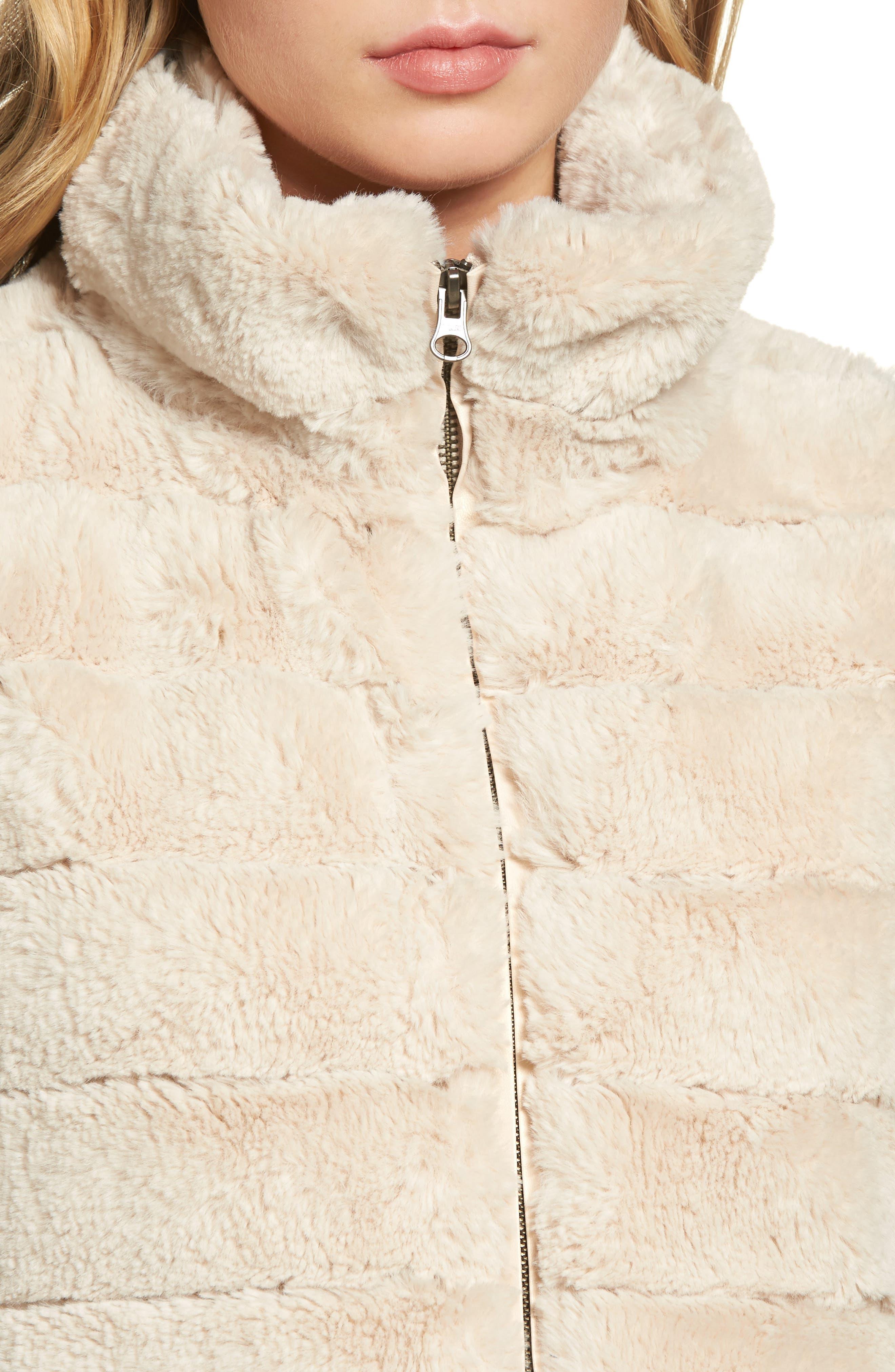 Love Faux Fur Vest,                             Alternate thumbnail 4, color,                             Ivory