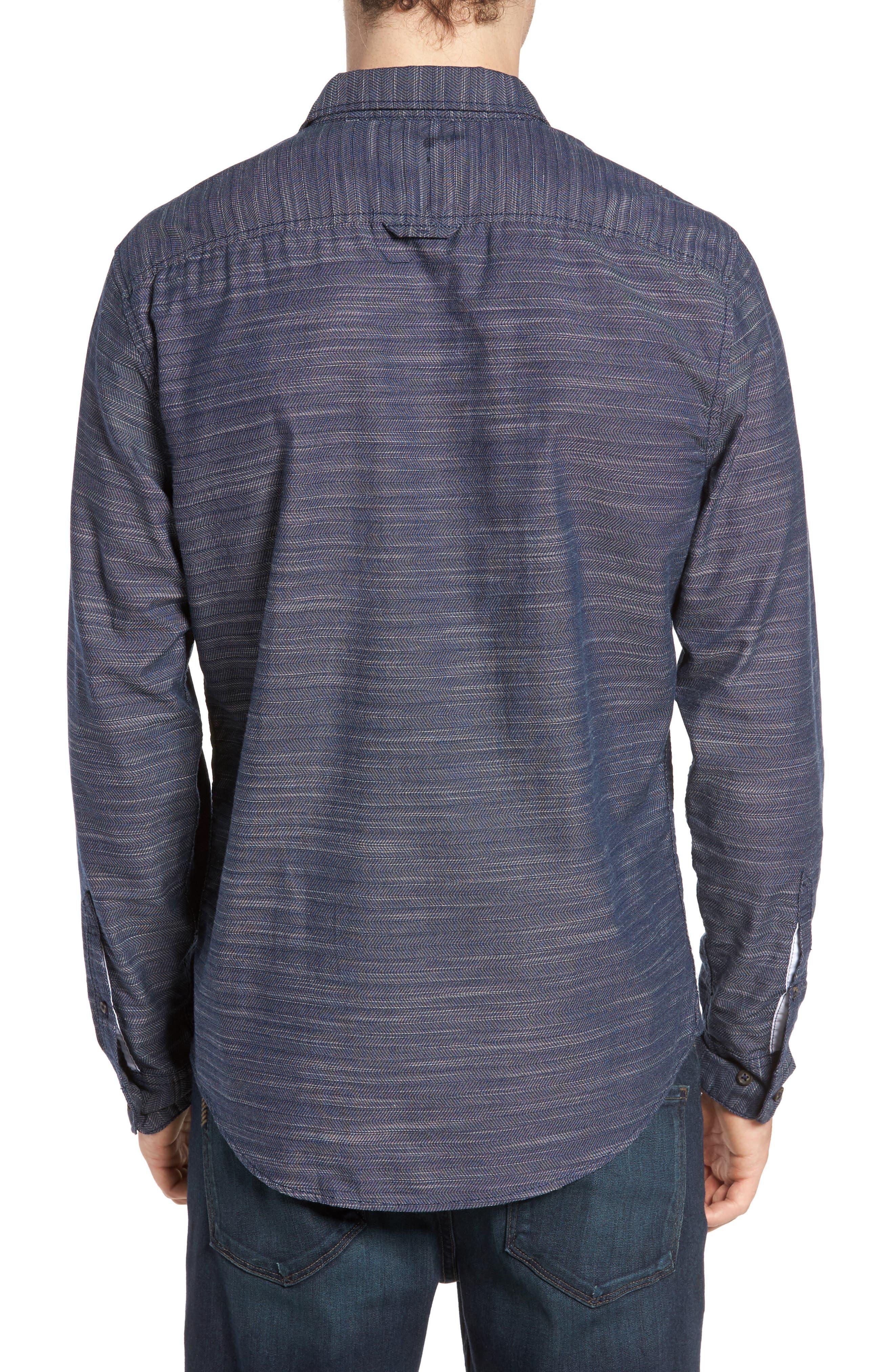 Herringbone Chambray Shirt,                             Alternate thumbnail 2, color,                             Navy Charcoal Herringbone