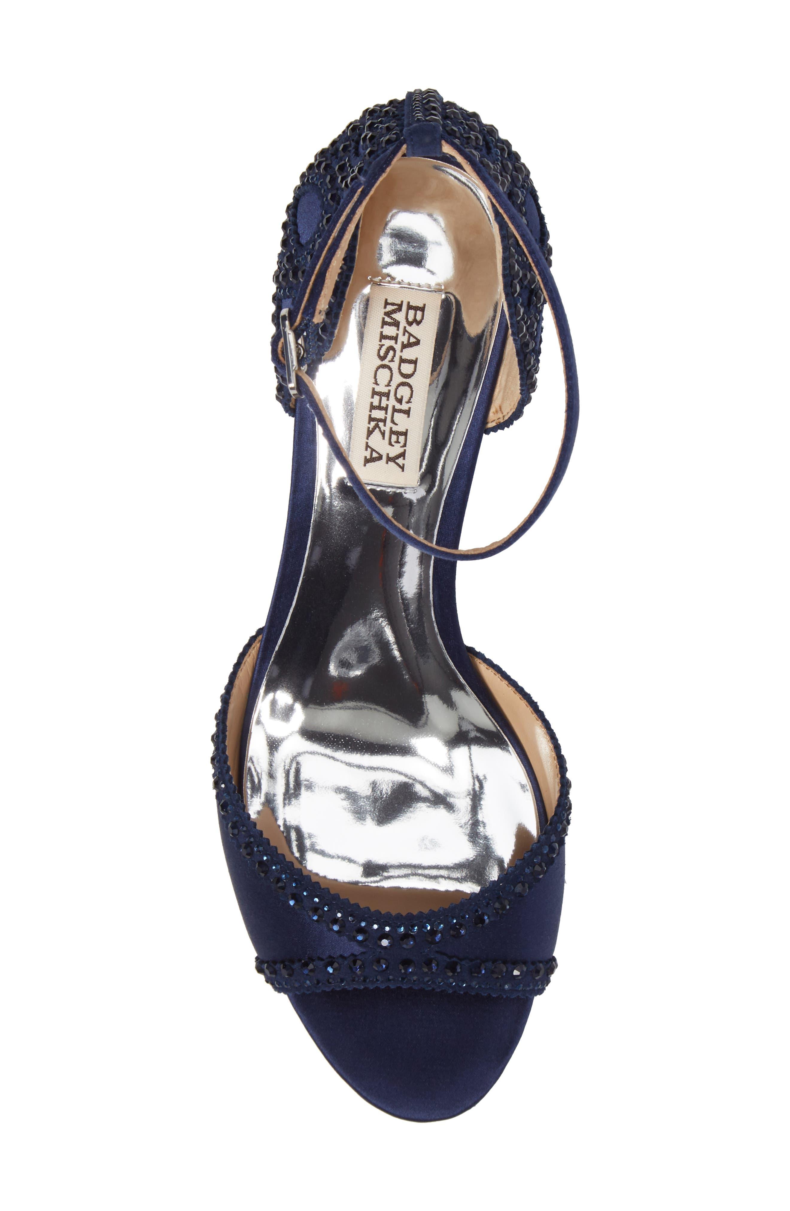 'Gillian' Crystal Embellished d'Orsay Sandal,                             Alternate thumbnail 5, color,                             Midnight Blue Satin