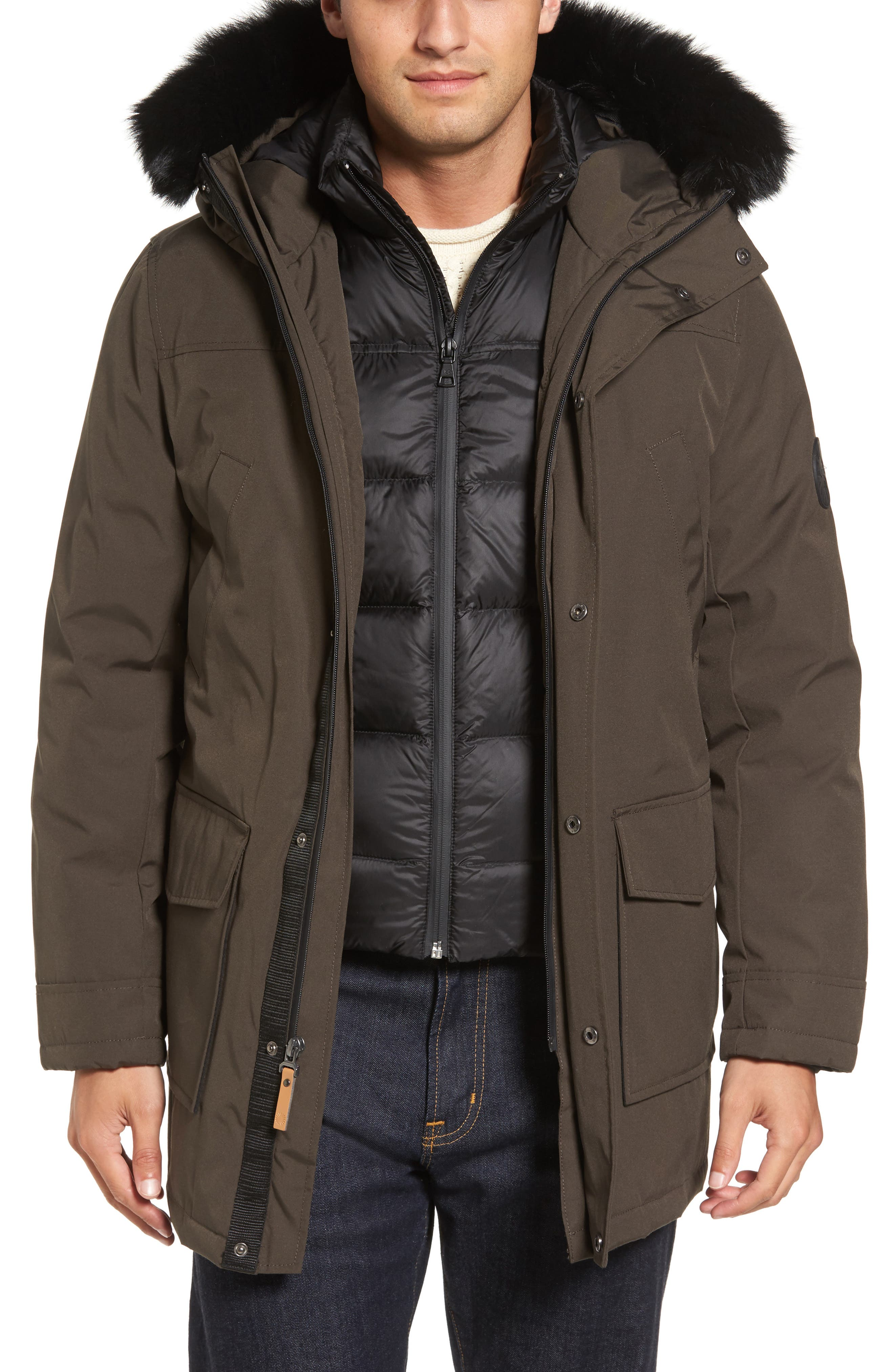 Butte Water-Resistant Down Parka with Genuine Shearling Trim,                         Main,                         color, Dark Olive