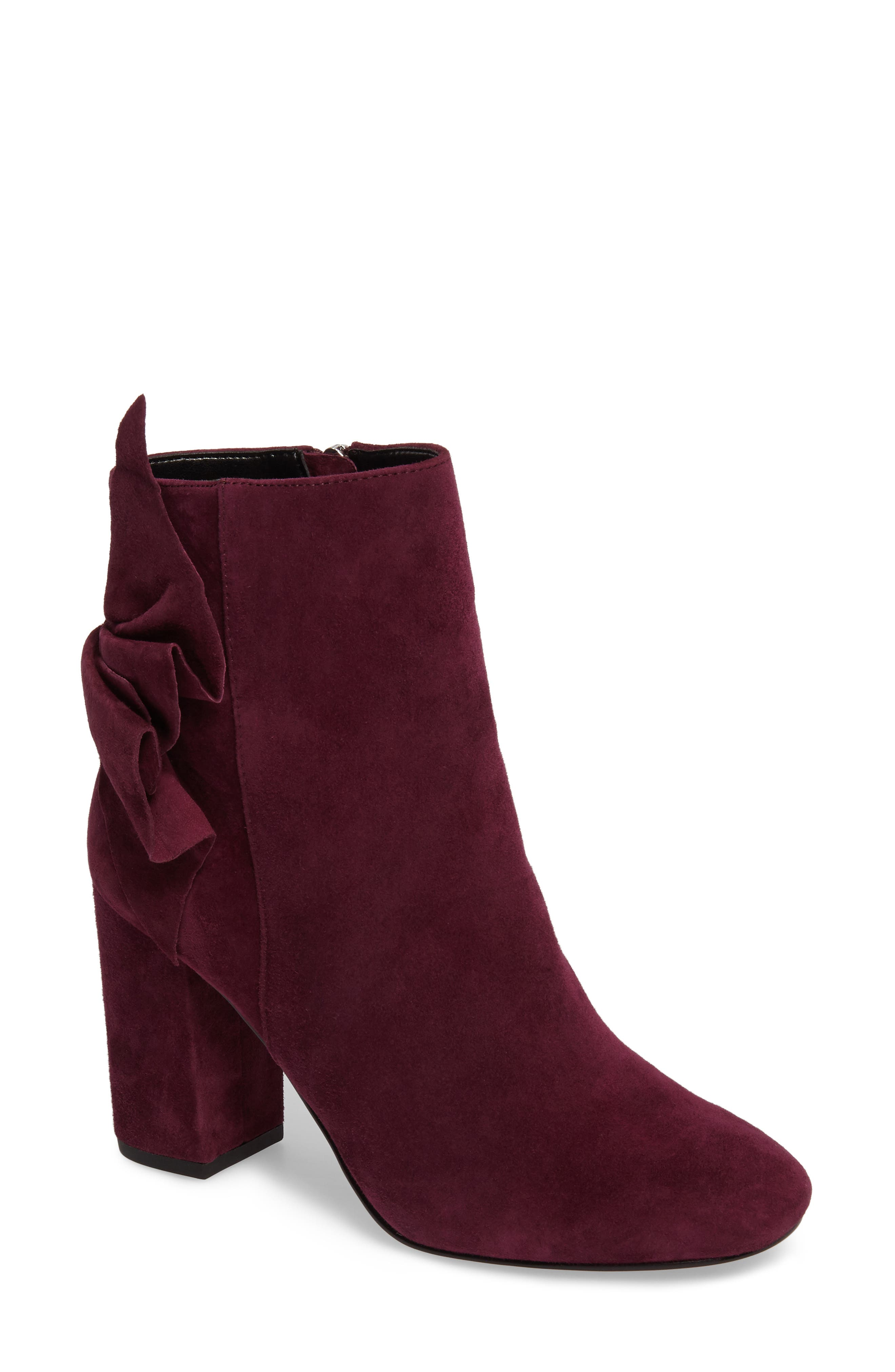 Remi Bow Bootie,                         Main,                         color, Eggplant Suede