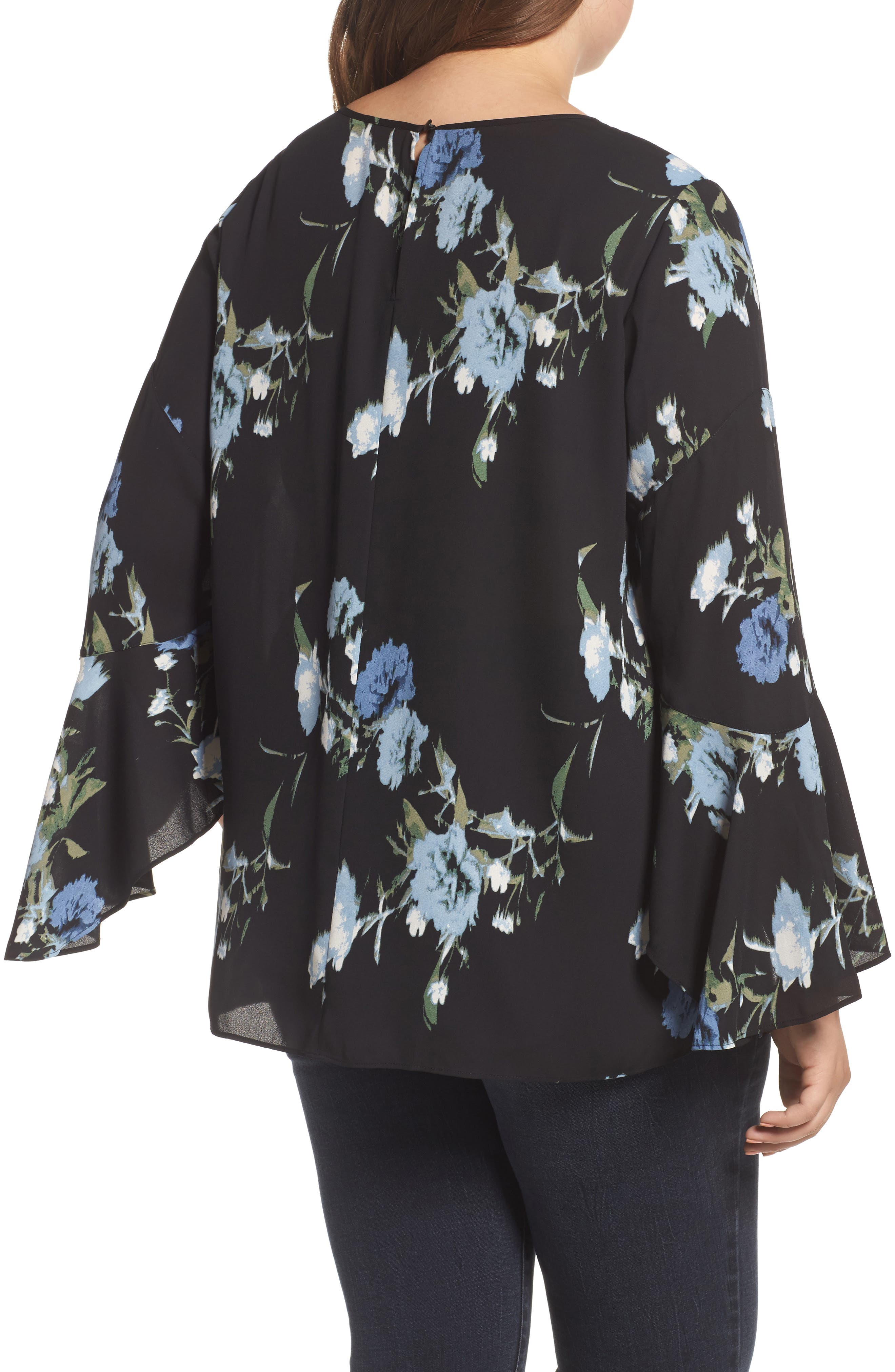 Windswept Bouquet Bell Sleeve Blouse,                             Alternate thumbnail 2, color,                             Cameo Blue