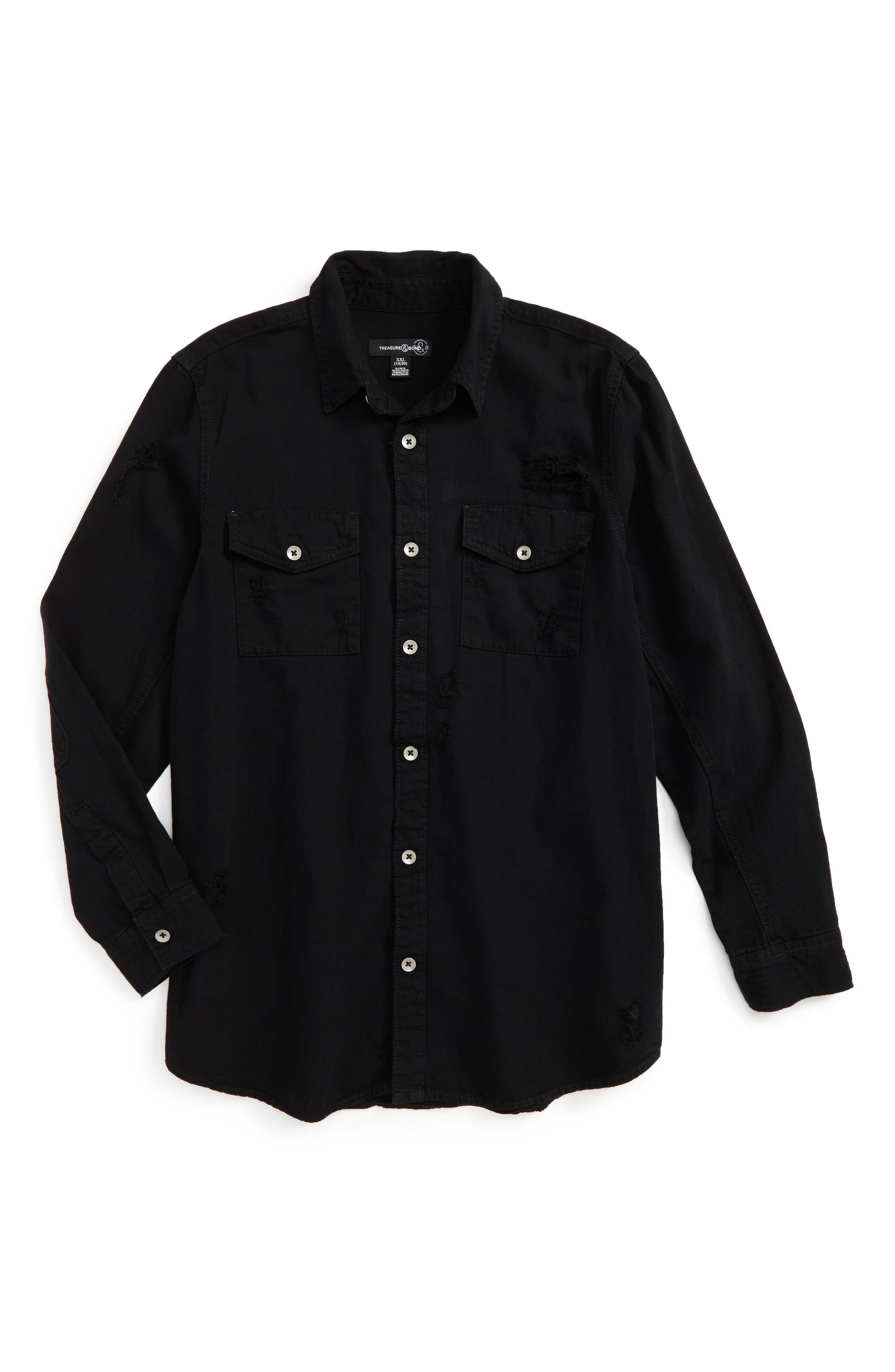Distressed Woven Shirt,                         Main,                         color, Black