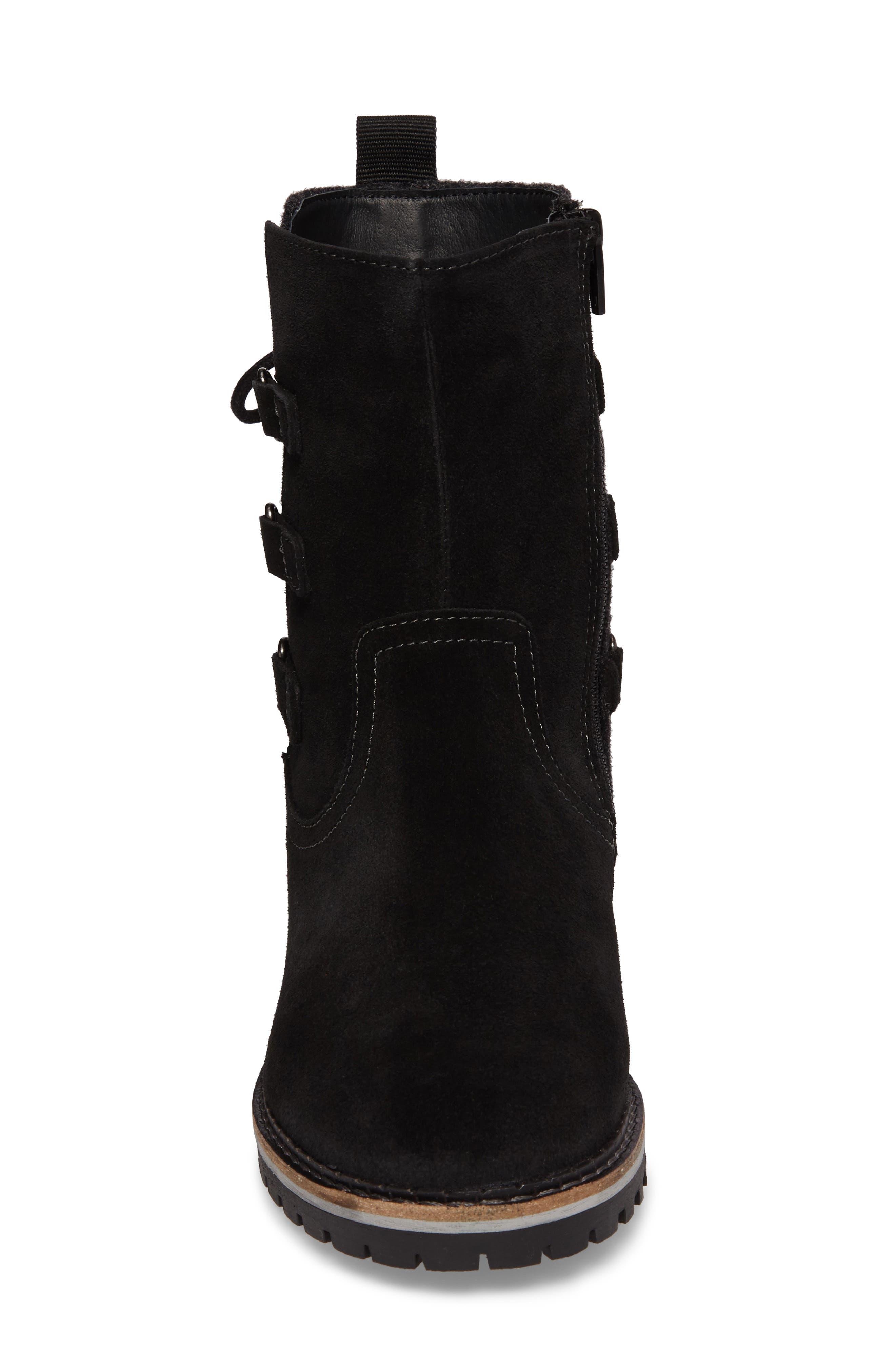 Cascade Waterproof Boot,                             Alternate thumbnail 4, color,                             Black/ Grey Suede