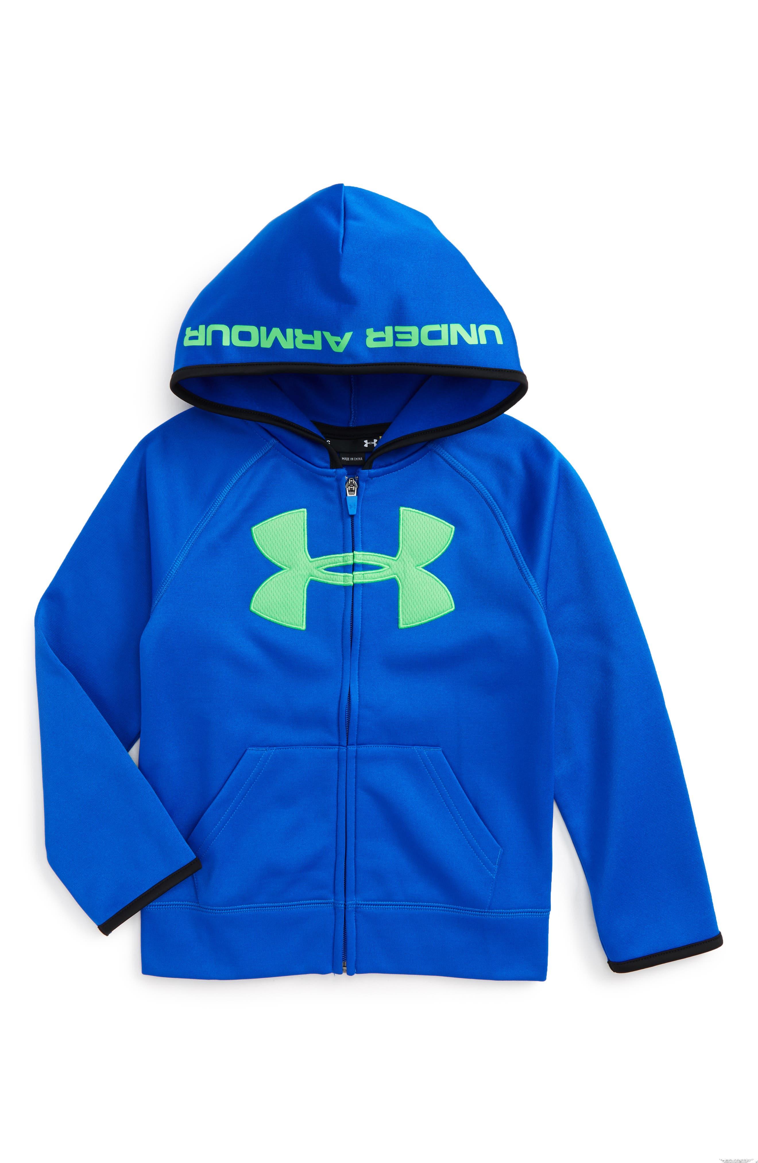 under armour zip up. under armour big logo hoodie (toddler boys \u0026 little boys) zip up