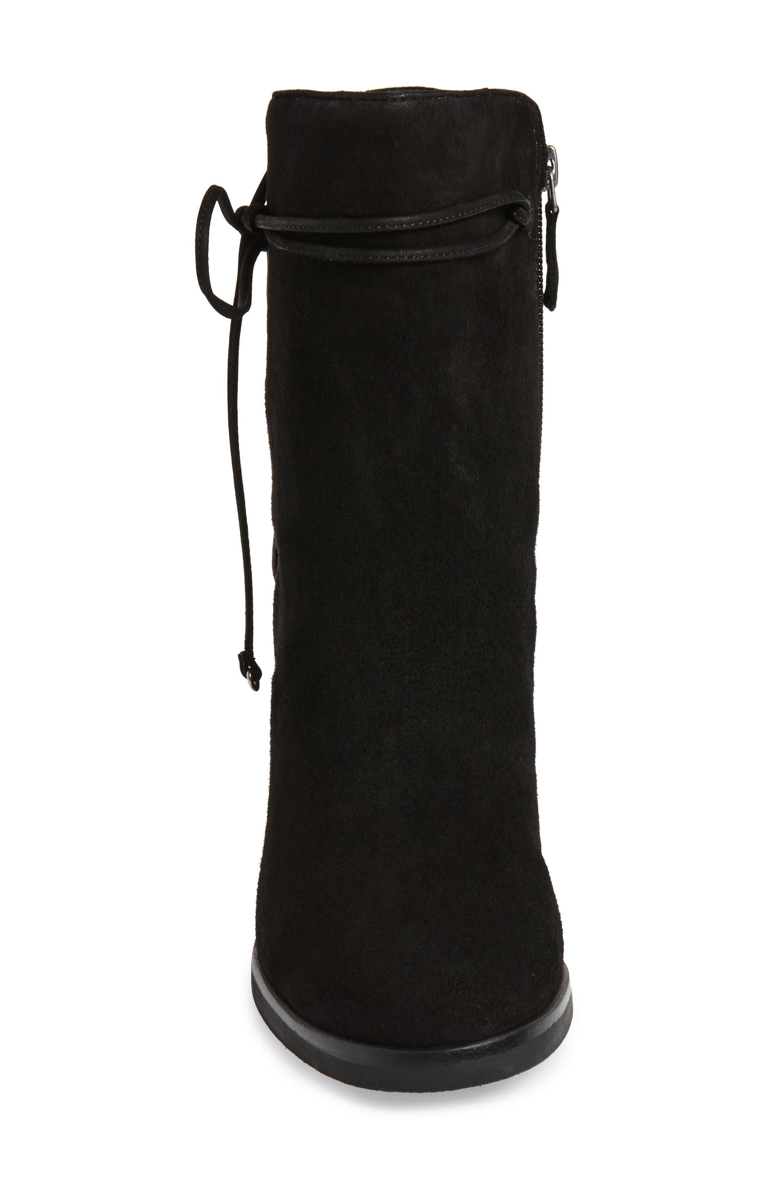Adley Ankle Wrap Boot,                             Alternate thumbnail 4, color,                             Black Suede