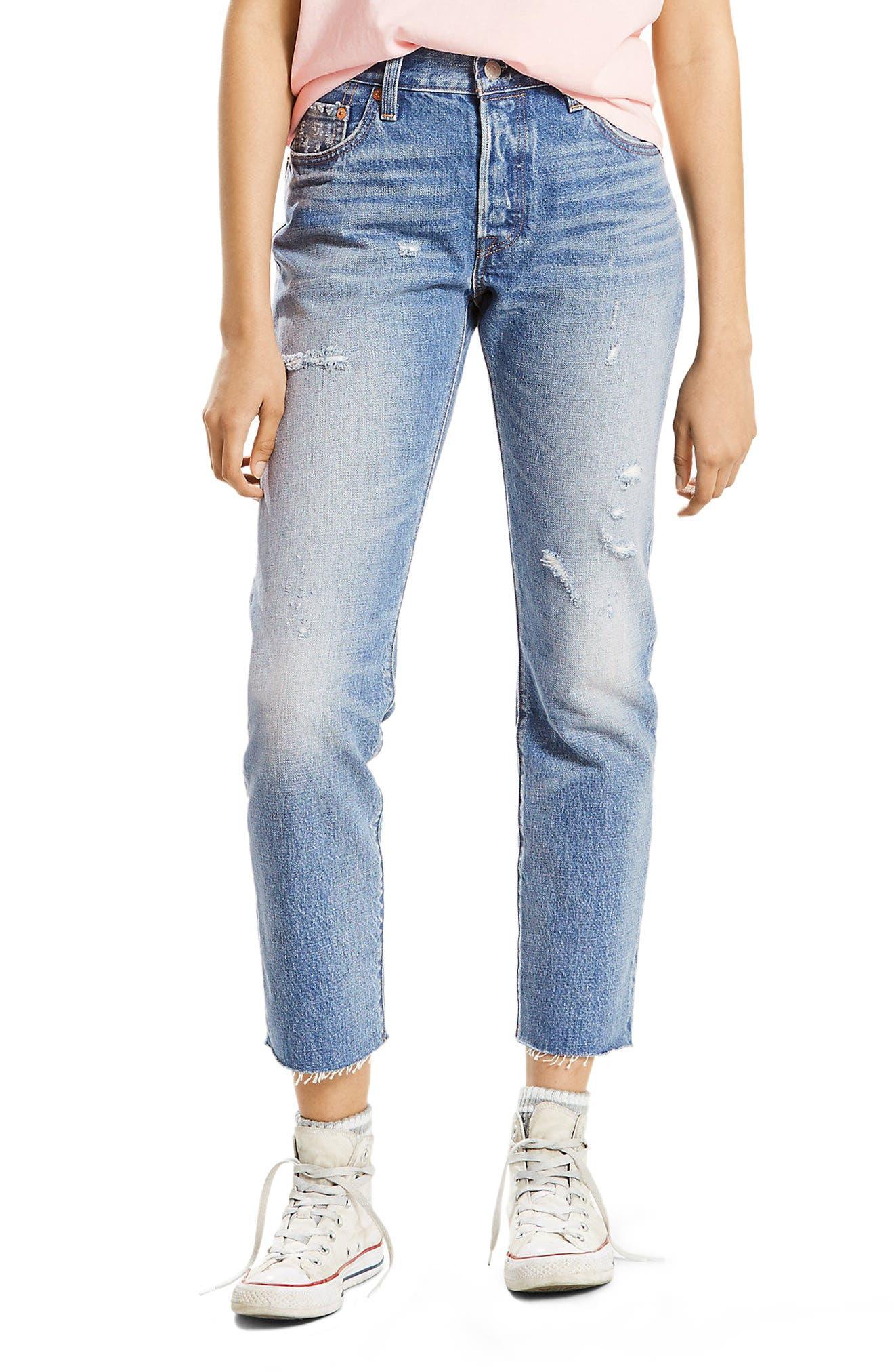 501 High Waist Straight Leg Jeans,                             Main thumbnail 1, color,                             Into The Blue