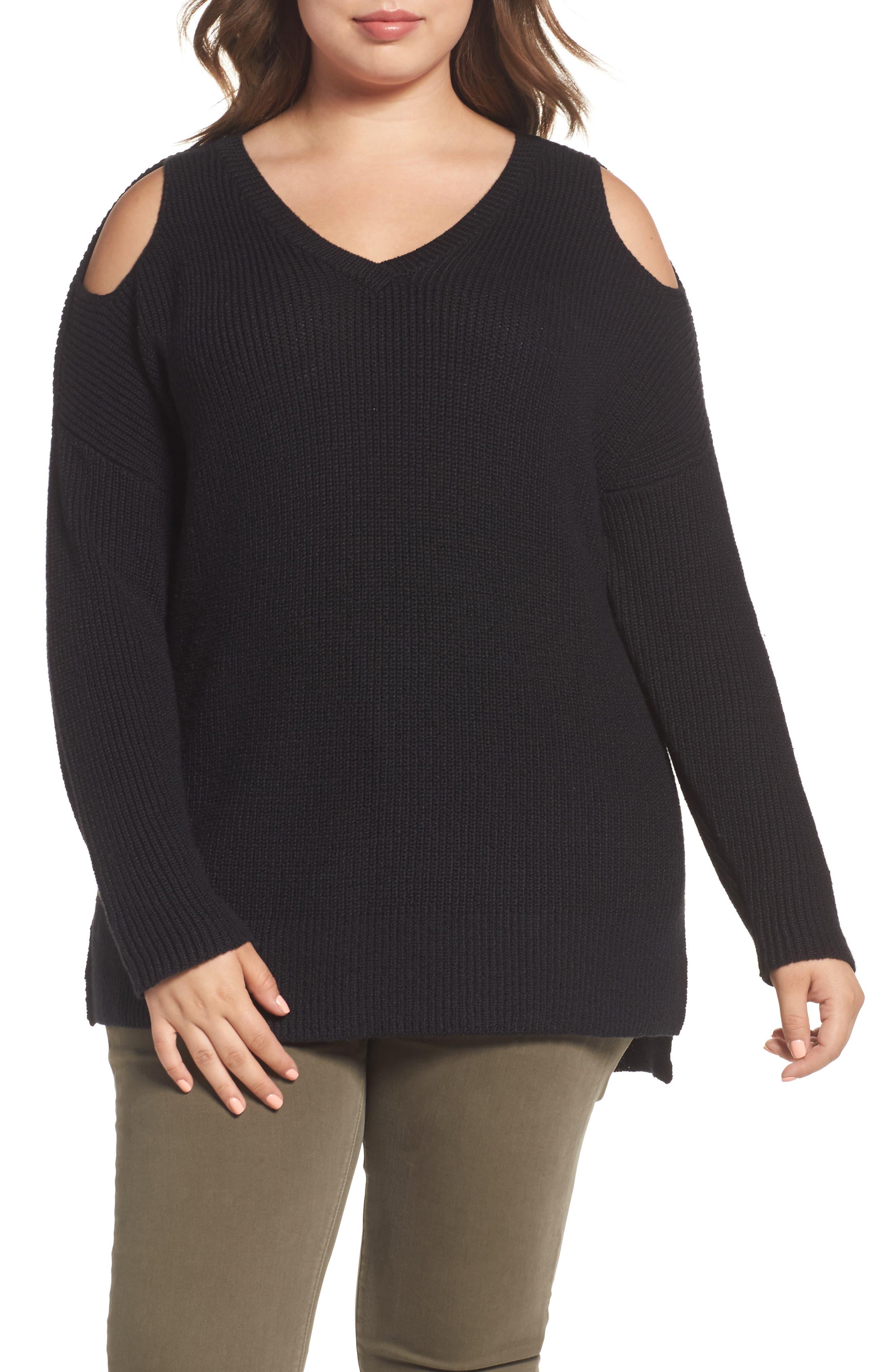 Caslon® Cold Shoulder Tunic Sweater (Plus Size)