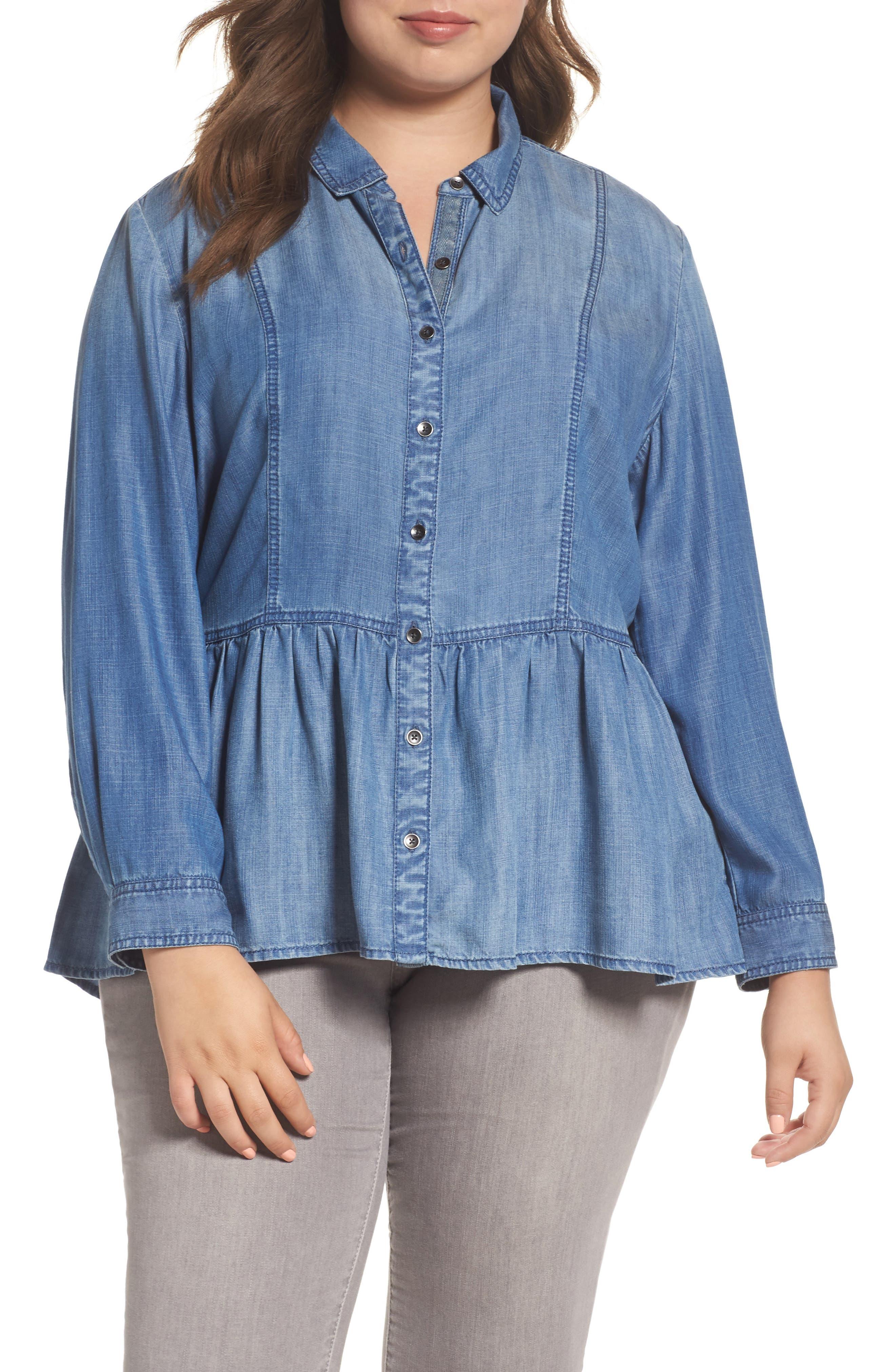 Peplum Denim Shirt,                         Main,                         color, Indigo