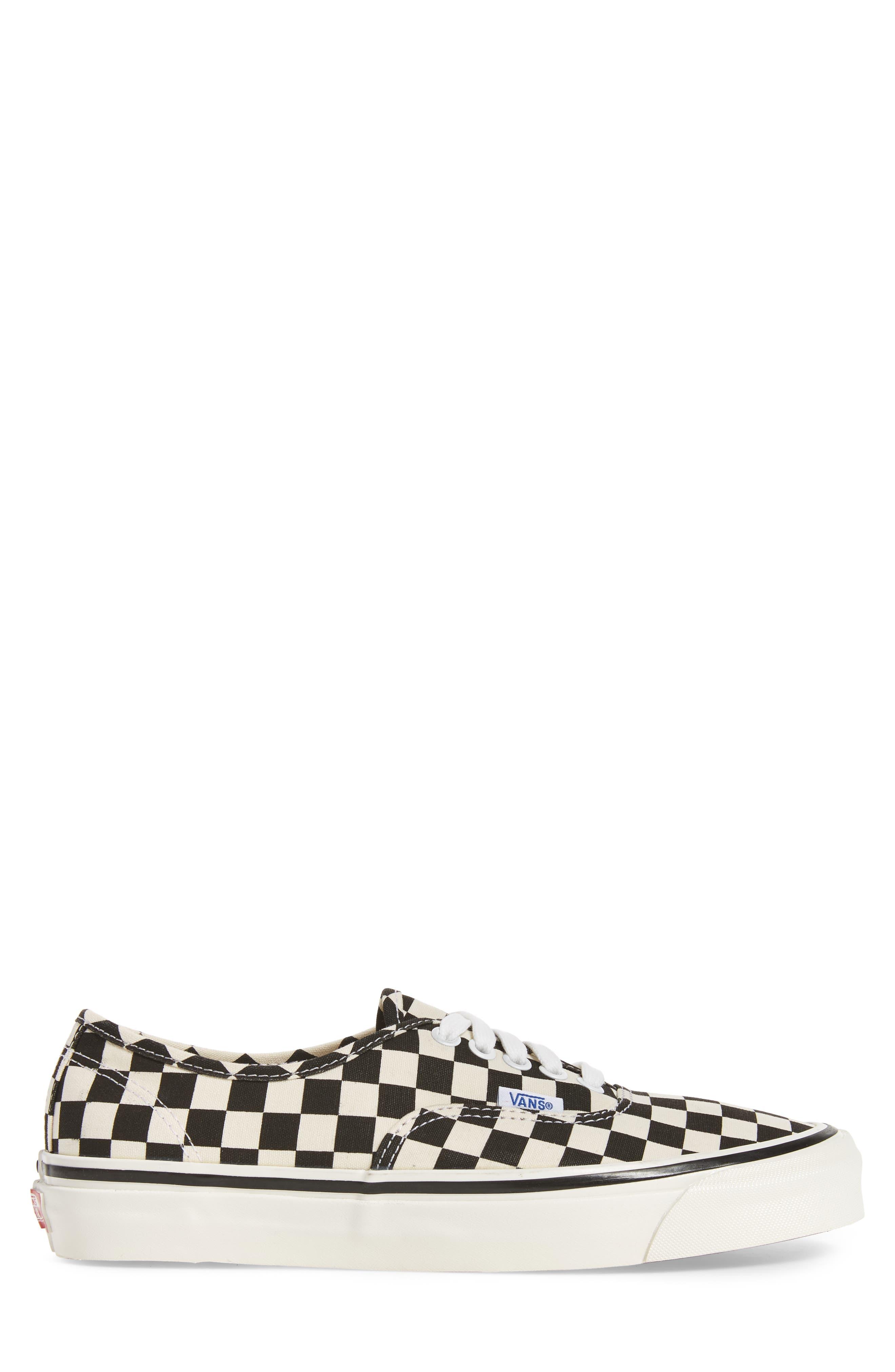 UA Authentic 44 DX Sneaker,                             Alternate thumbnail 3, color,                             Black/ Check Canvas