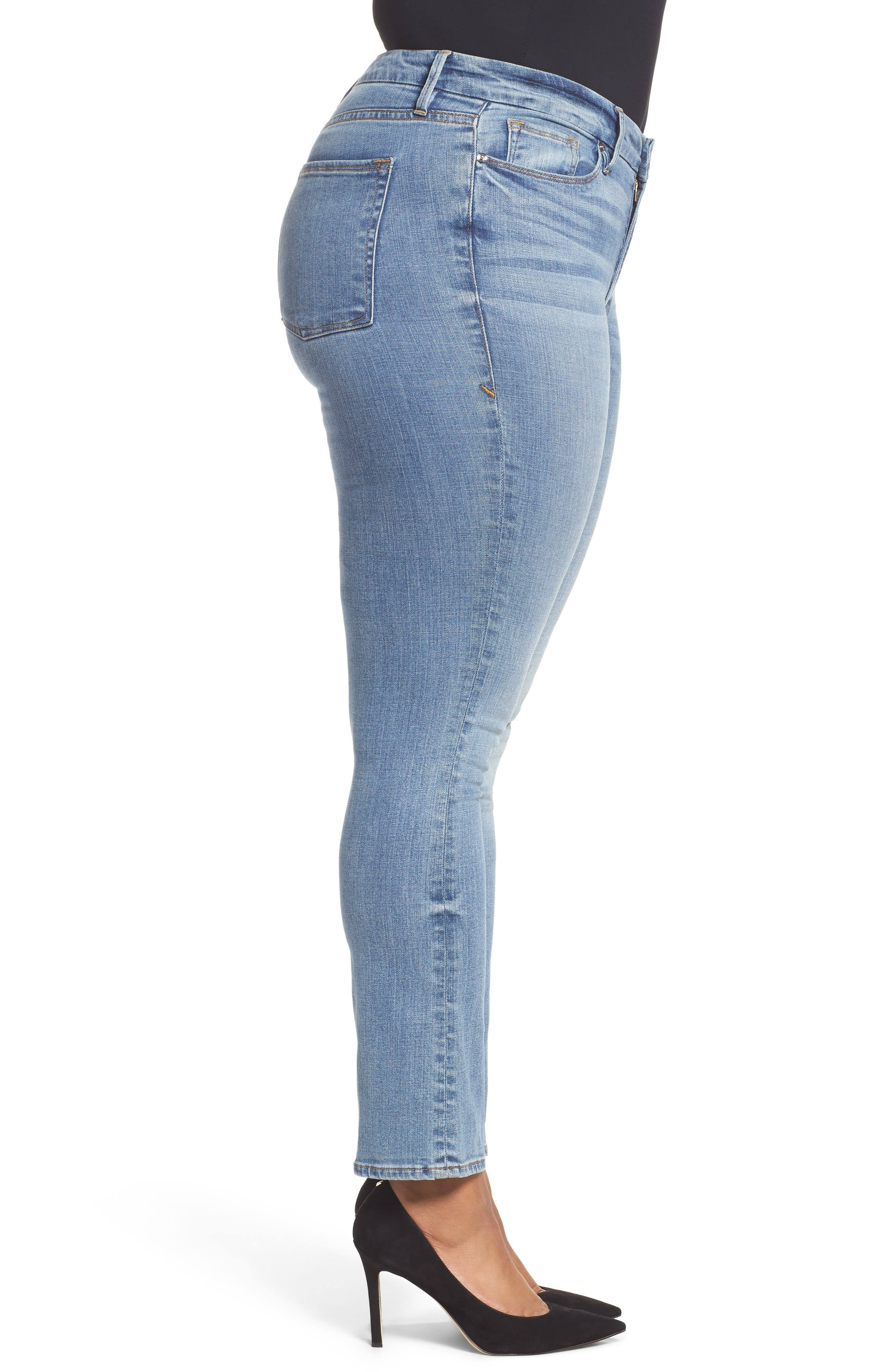 Alternate Image 11  - Good American Good Straight High Rise Jeans (Blue 087) (Extended Sizes)
