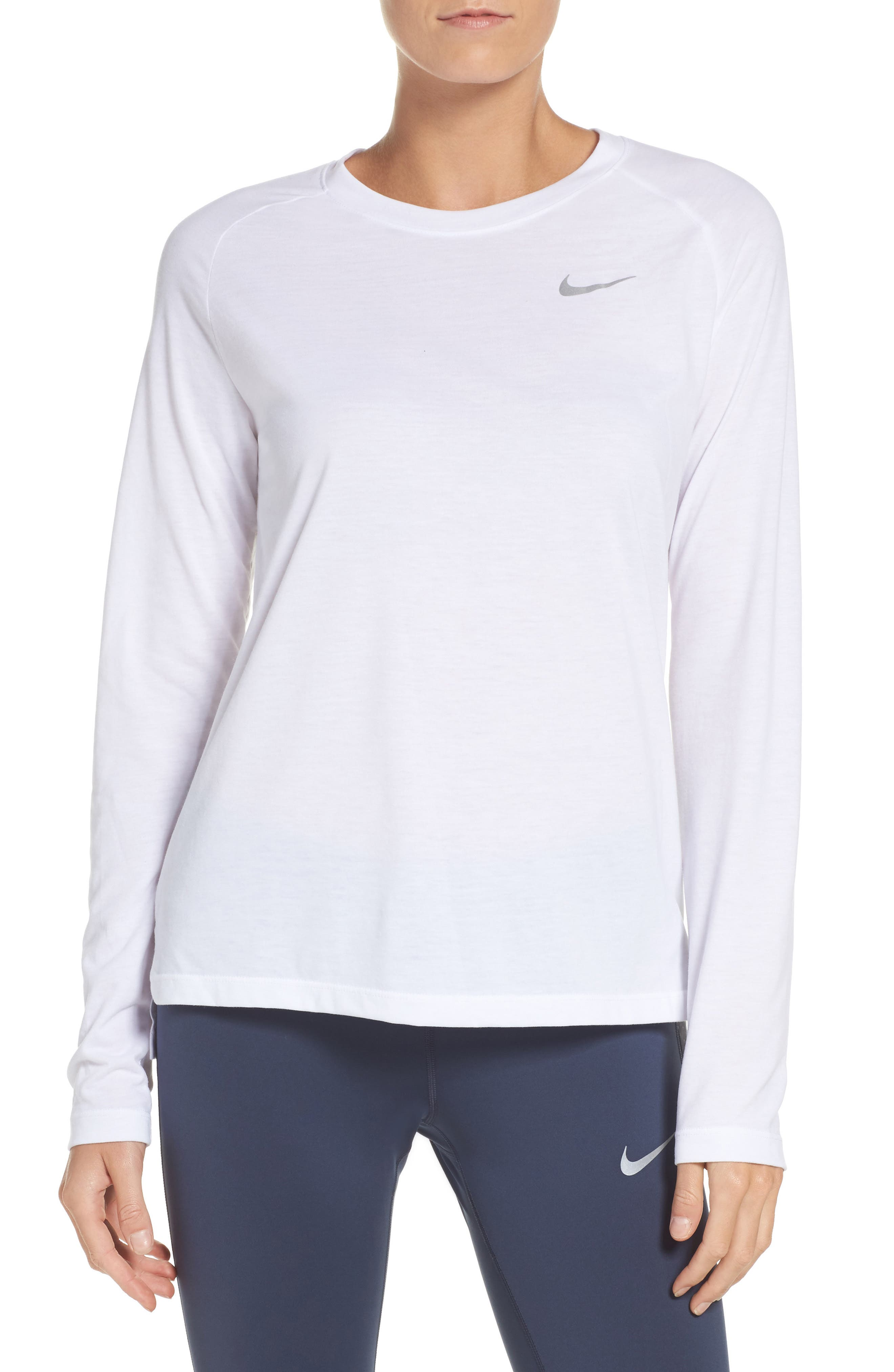 Breathe Tailwind Running Top,                         Main,                         color, White