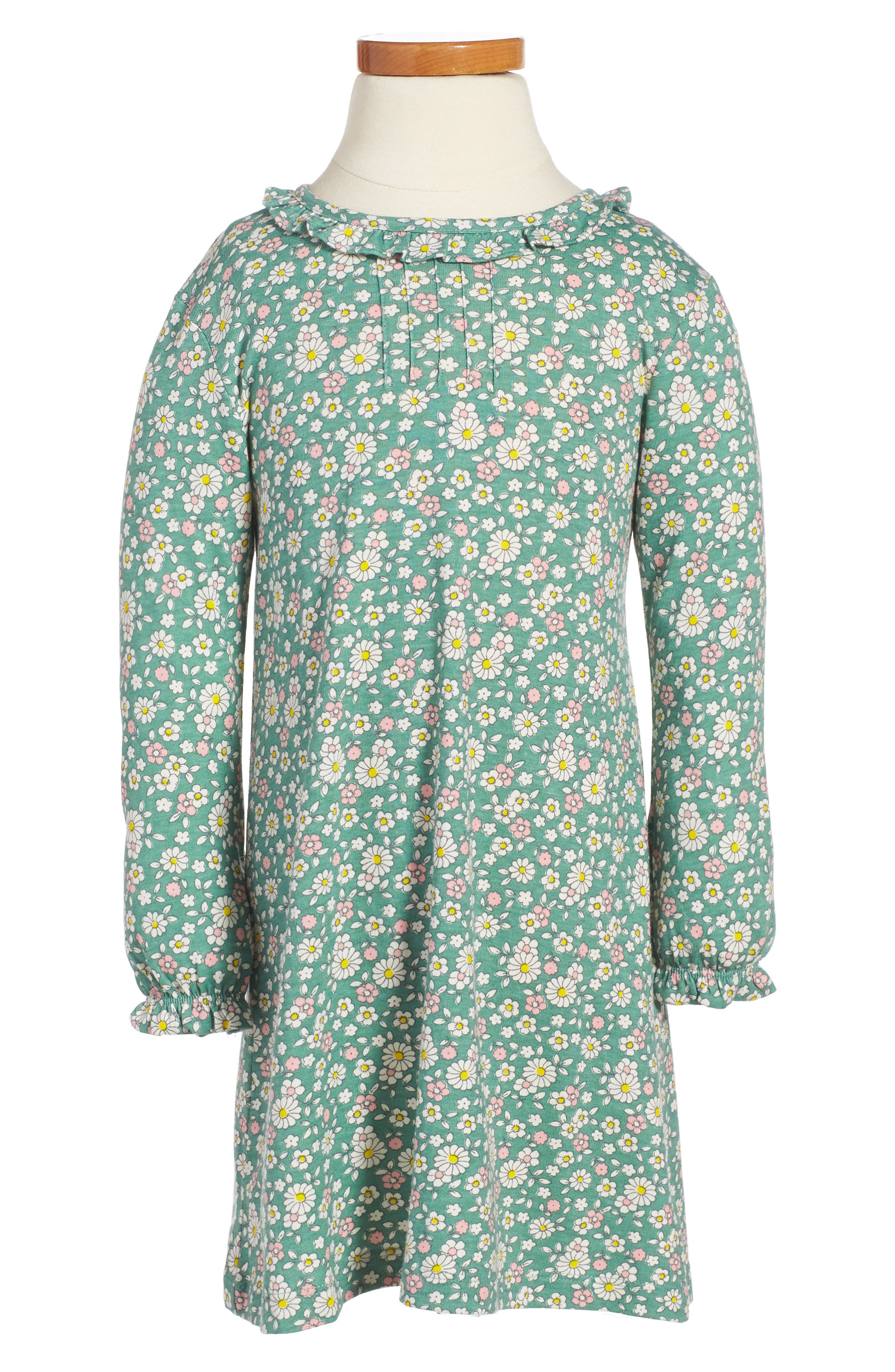 Pretty Print Jersey Dress,                         Main,                         color, Green Vintage Daisy