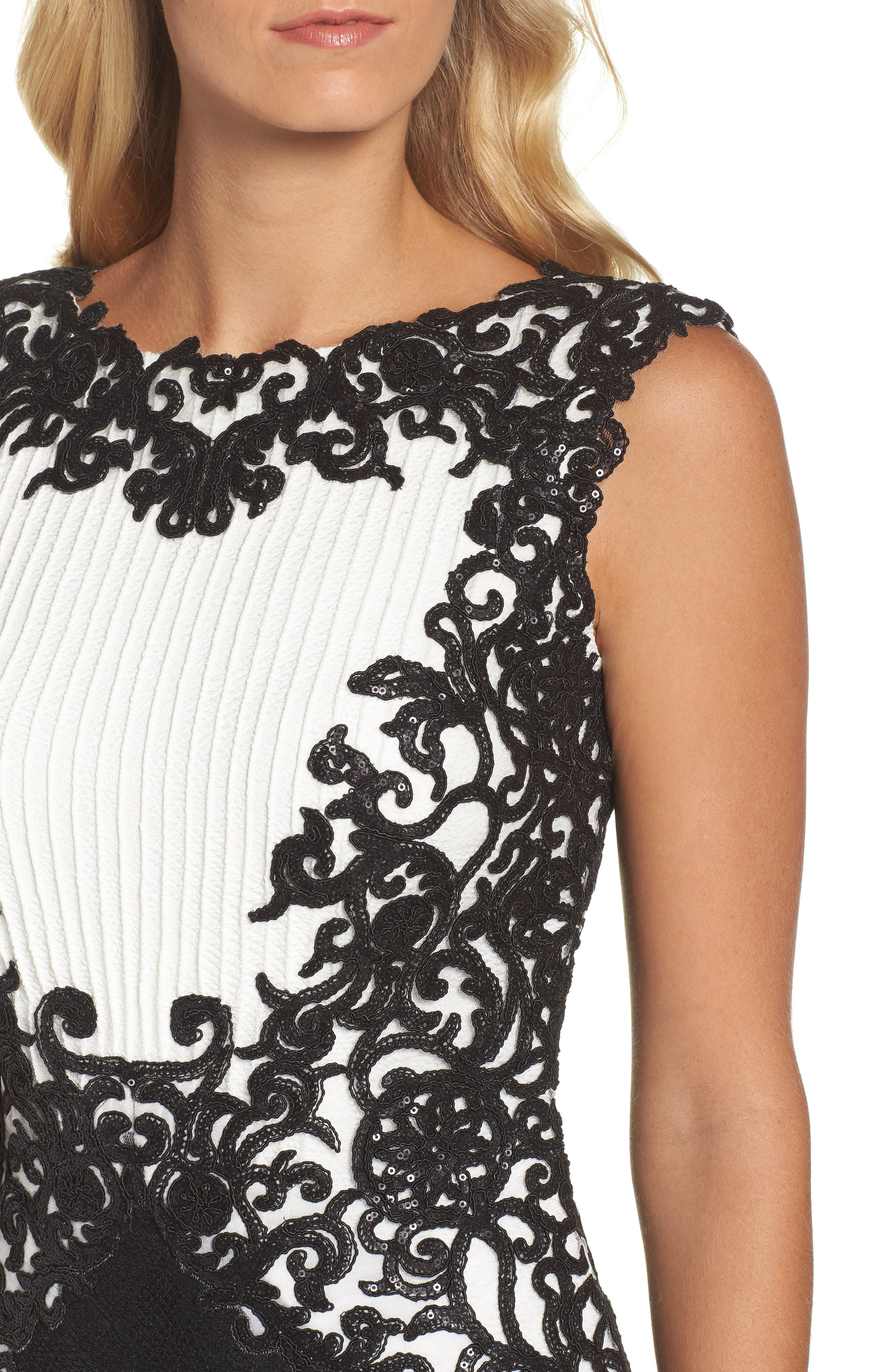 Alternate Image 4  - Tadashi Shoji Sequin Embroidered Textured Crepe Gown (Regular & Petite)