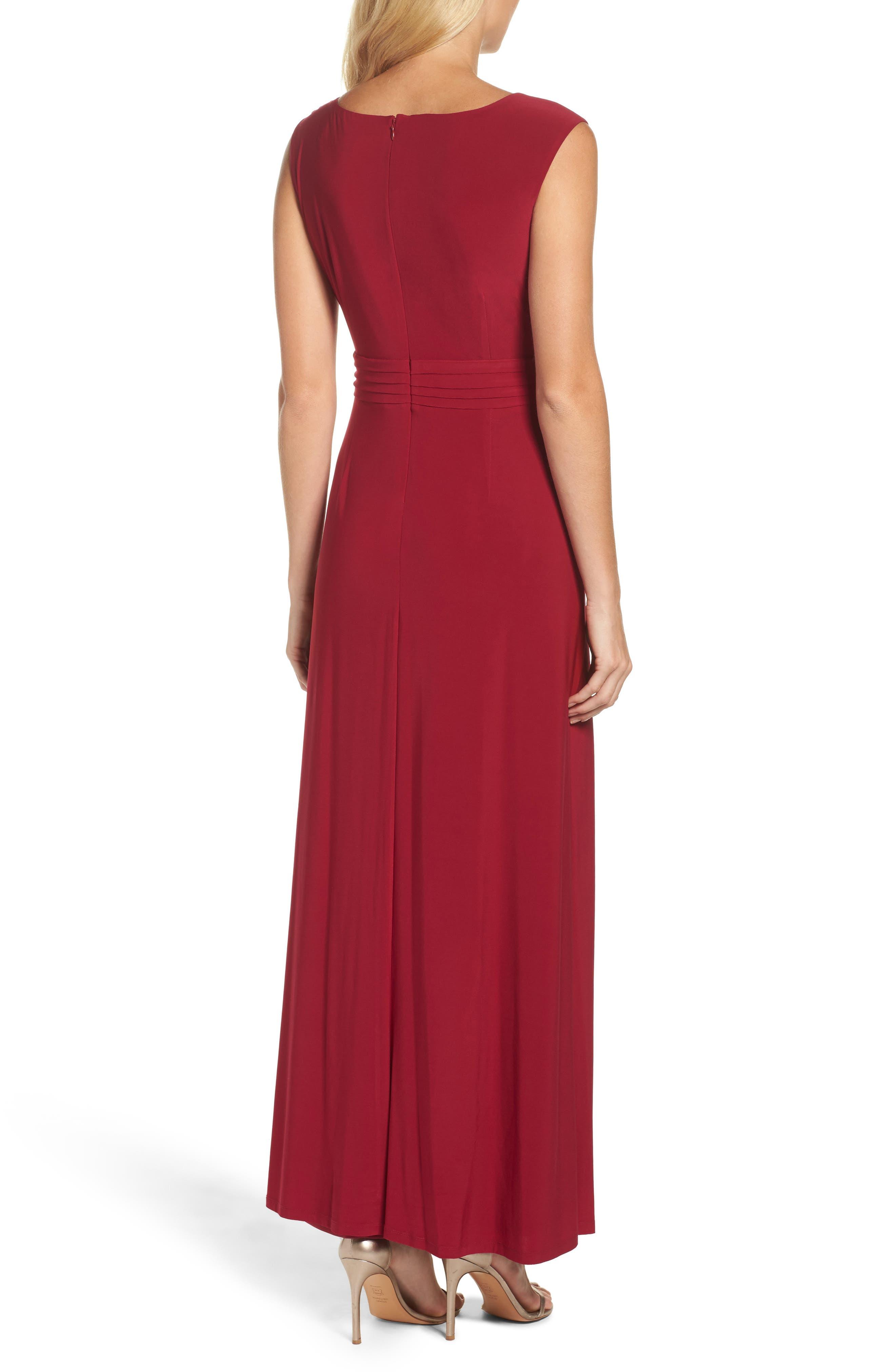 Asymmetrical Neck Jersey Gown,                             Alternate thumbnail 2, color,                             Garnet