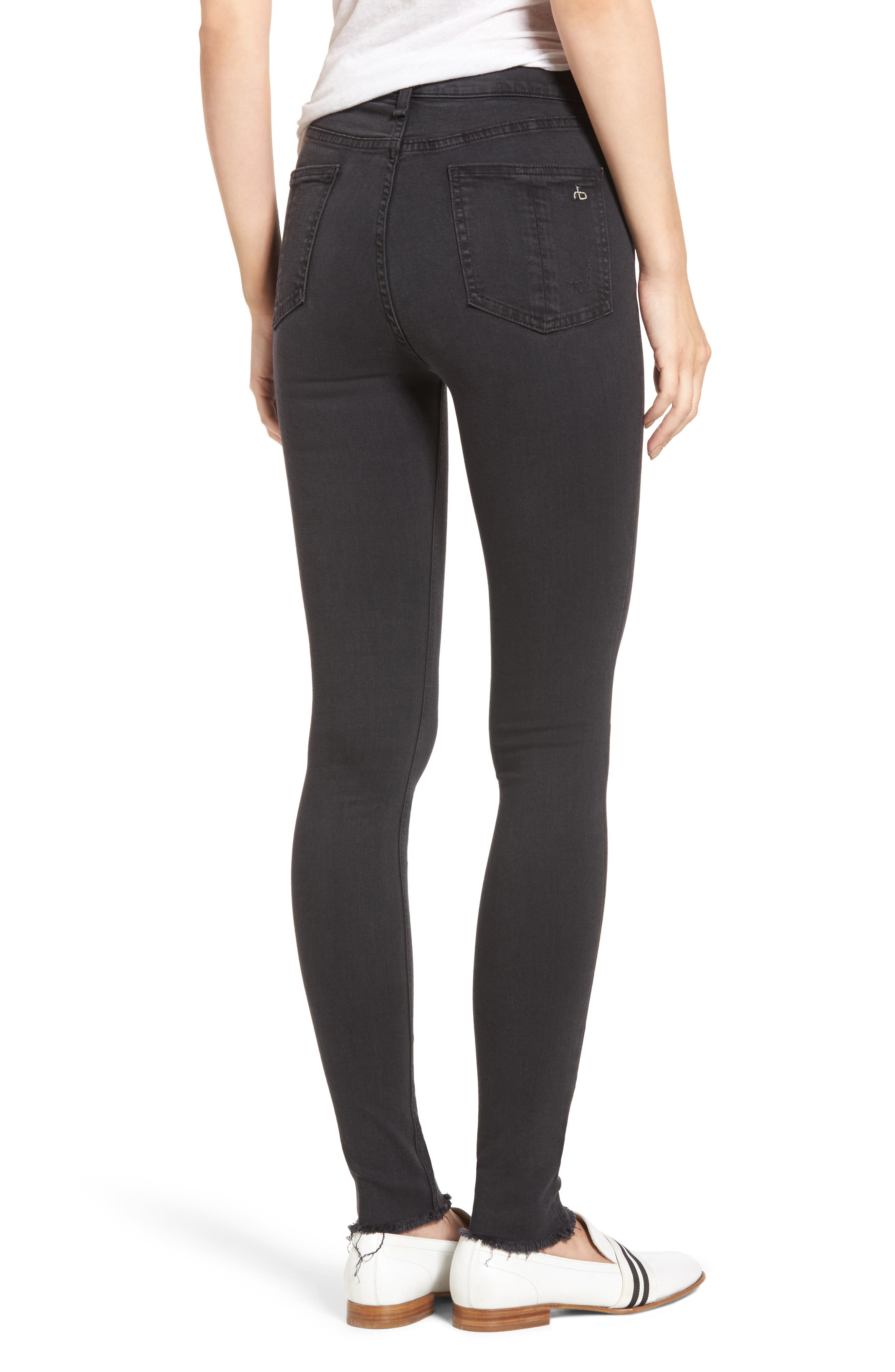 Ripped High Waist Skinny Jeans,                             Alternate thumbnail 2, color,                             Night With Holes