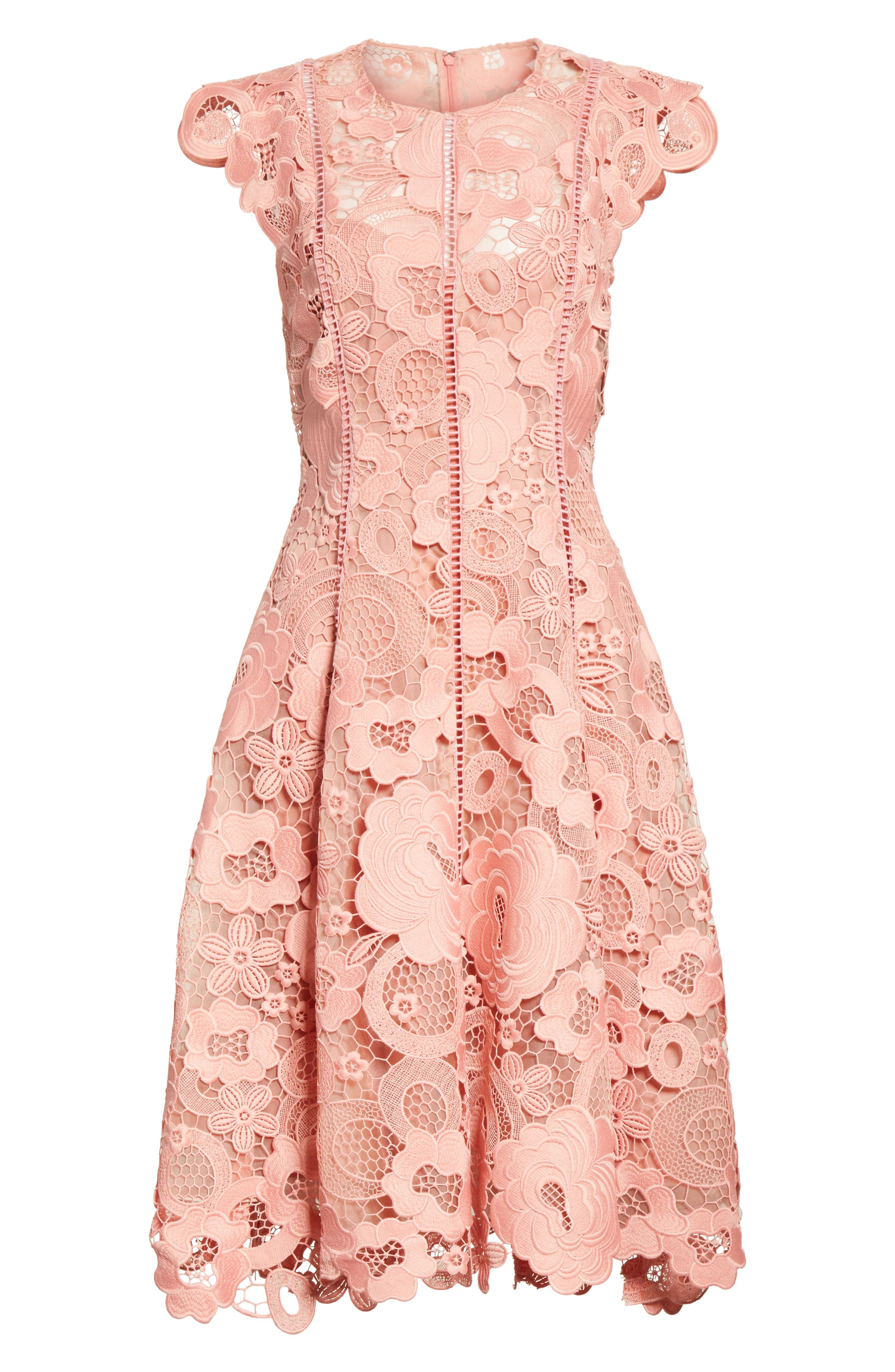 Seamed Lace Fit & Flare Dress,                             Alternate thumbnail 7, color,                             Peony