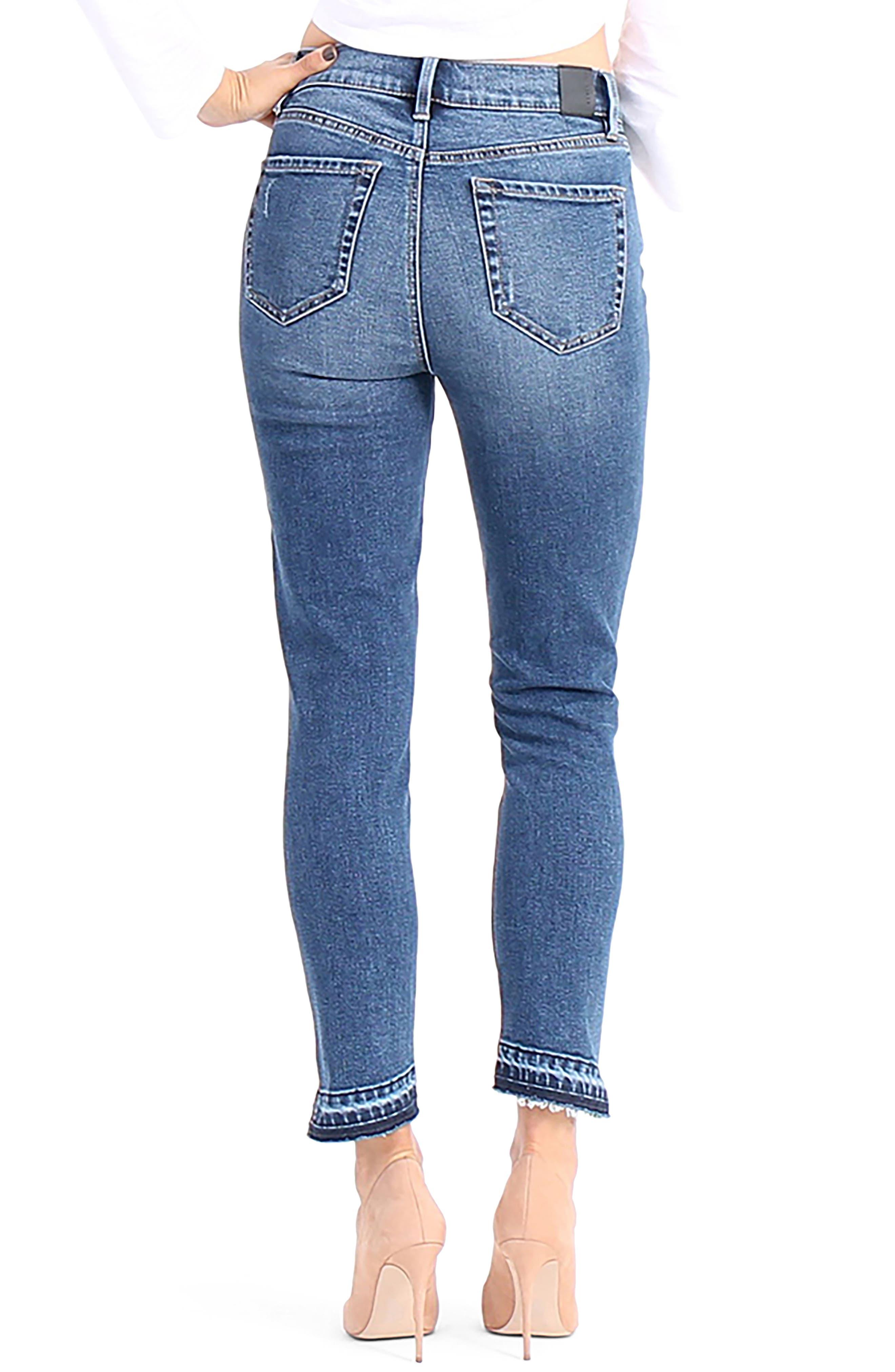 Alternate Image 2  - Level 99 Elle Uneven Hem Skinny Jeans (After Glow)