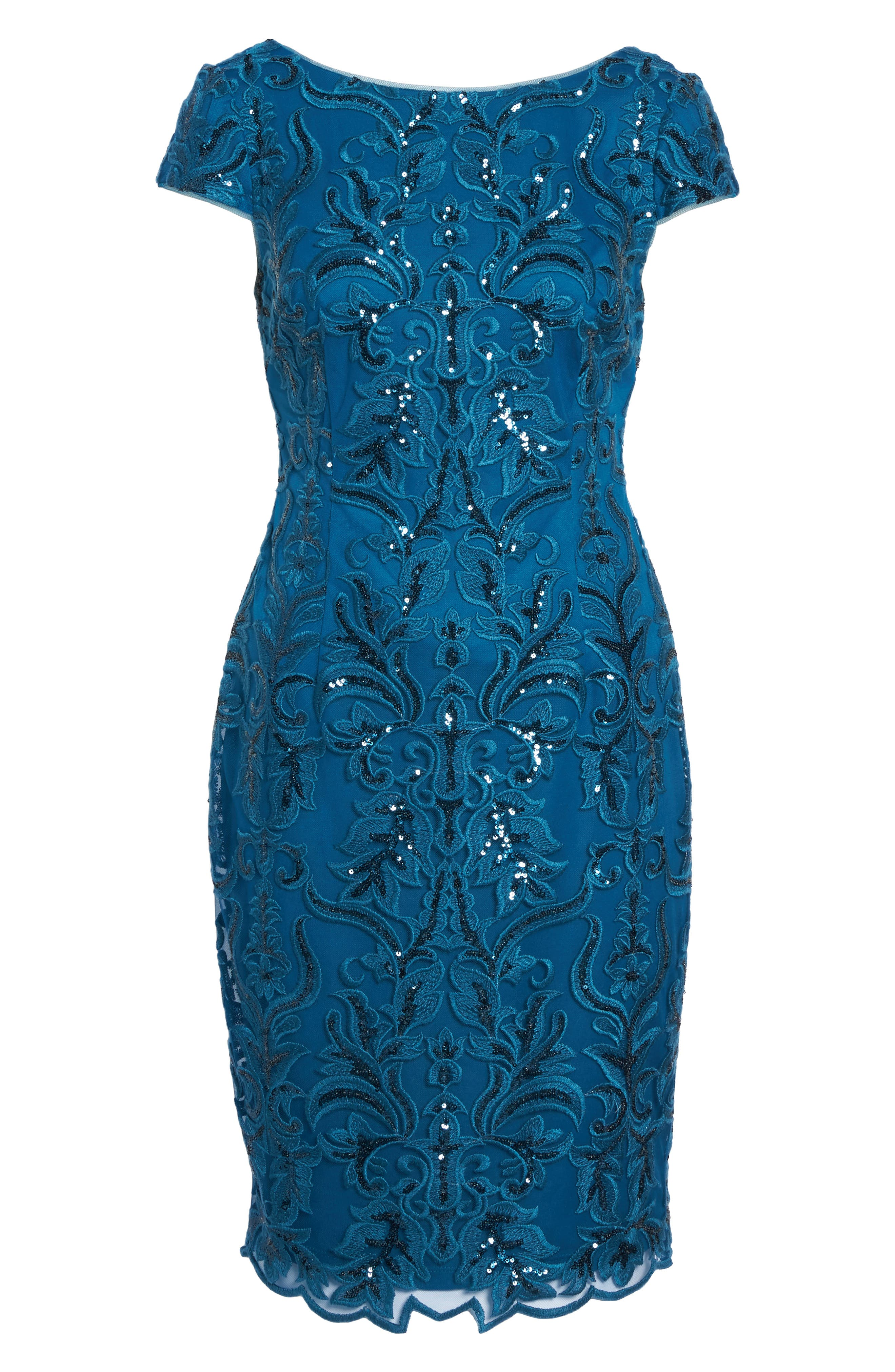 Sequin Embroidered Sheath Dress,                             Alternate thumbnail 6, color,                             Evening Sky