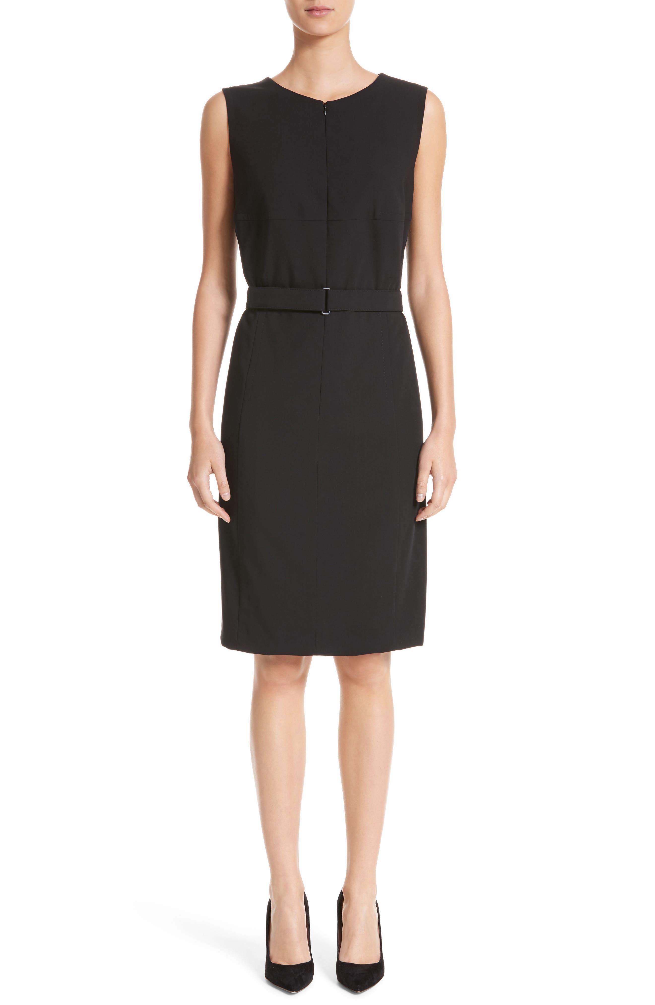 Main Image - Akris punto Belted Zip Front Wool Dress