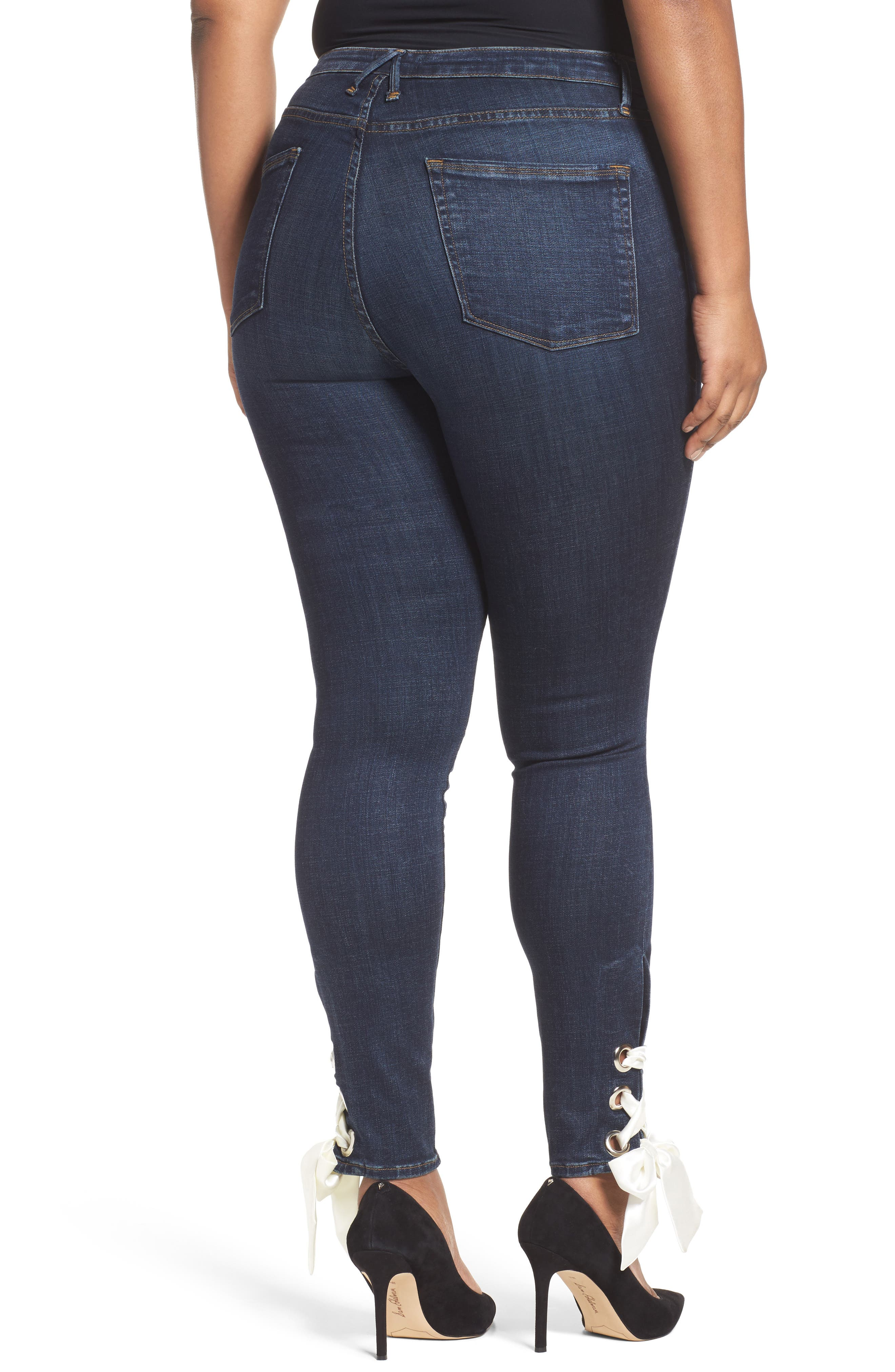 Alternate Image 7  - Good American Good Waist Ultra High Waist Ankle Skinny Jeans (Blue 102) (Regular & Plus Size)