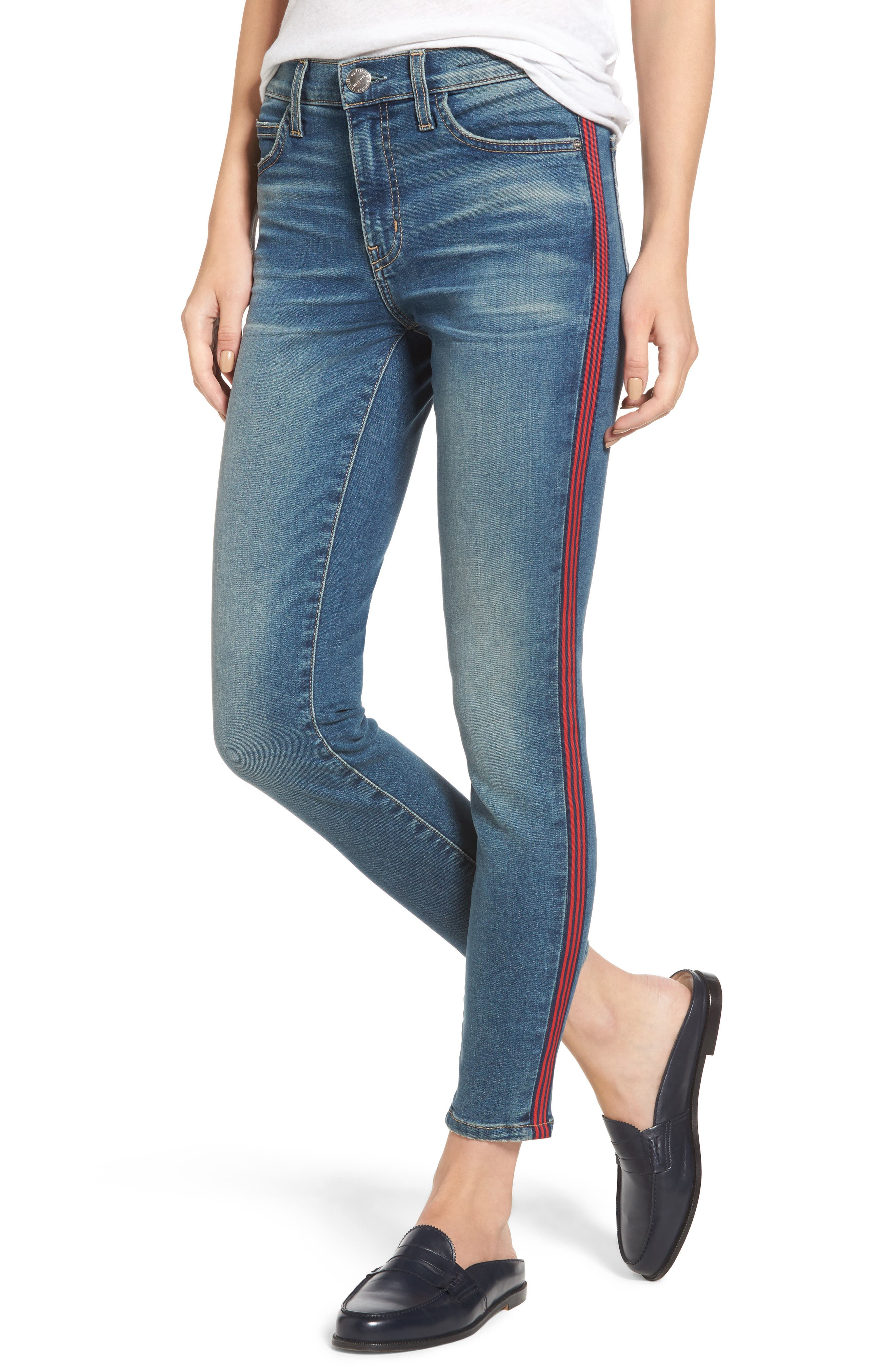 Main Image - Current/Elliott The High Waist Stiletto Ankle Skinny Jeans (Powell/Applied Stripe)