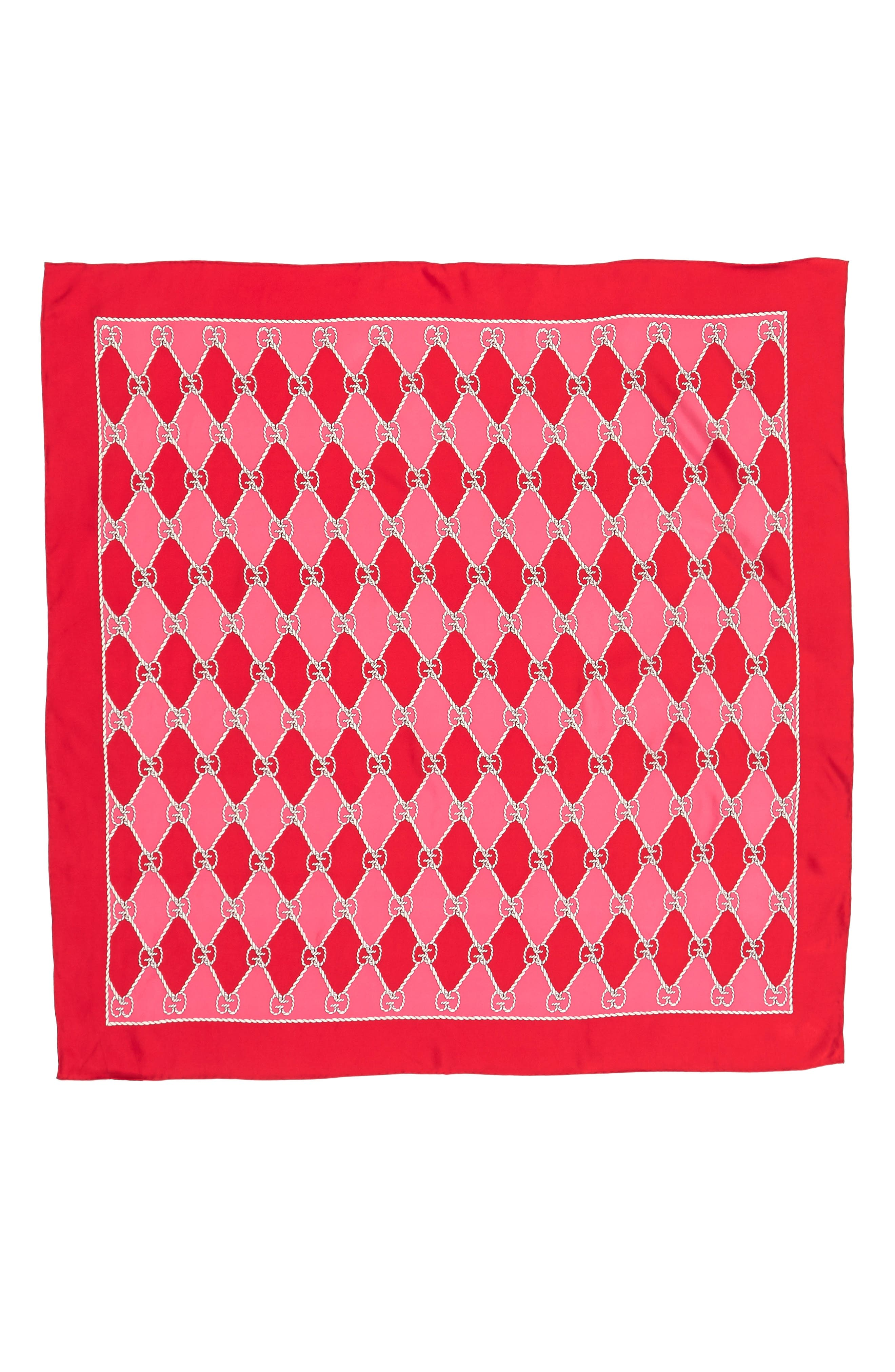 Rhombus Chane Square Foulard Silk Scarf,                             Alternate thumbnail 2, color,                             Red/ Pink
