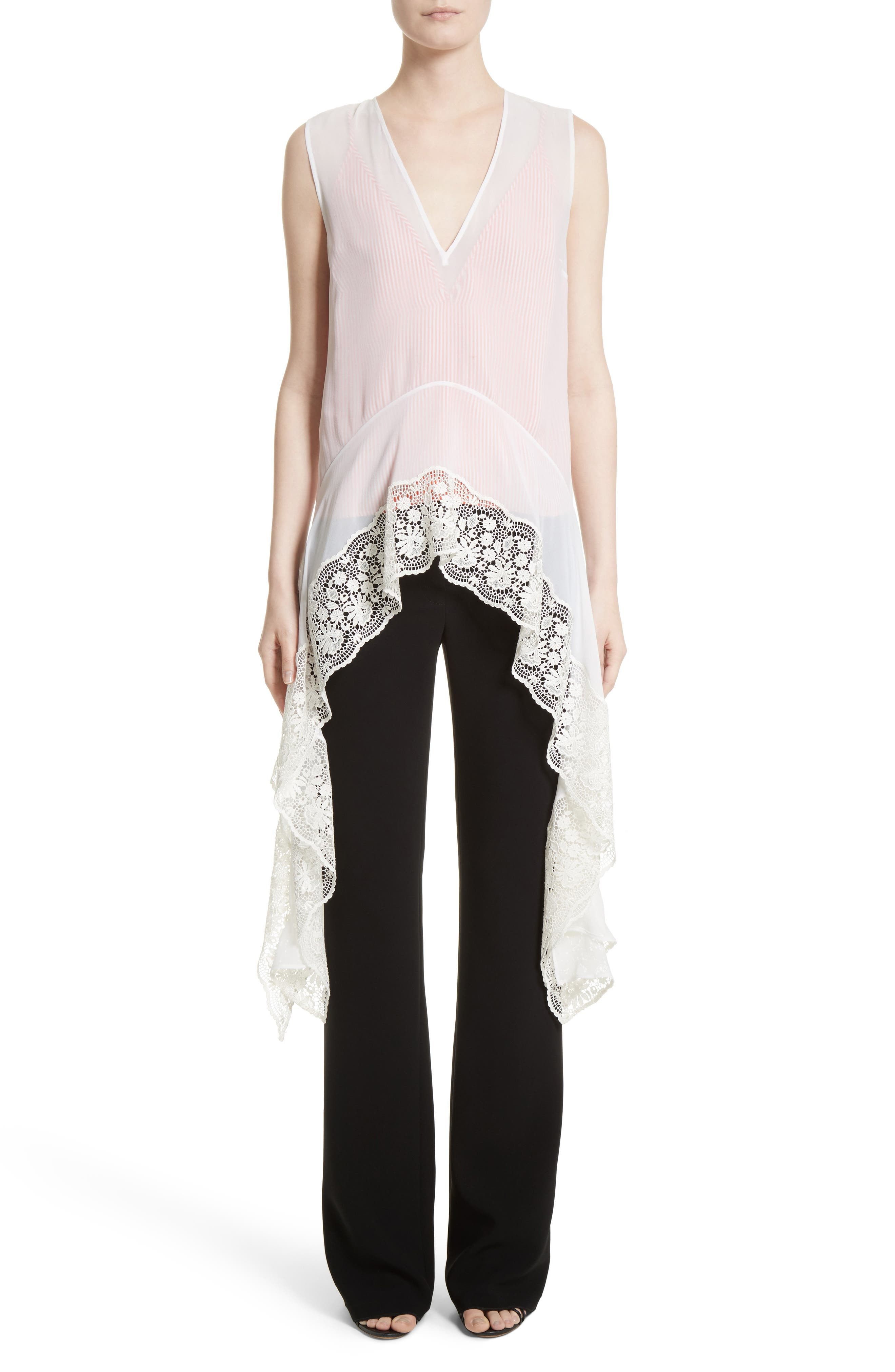 Lace Trim Silk Blouse,                             Alternate thumbnail 7, color,                             Natural White