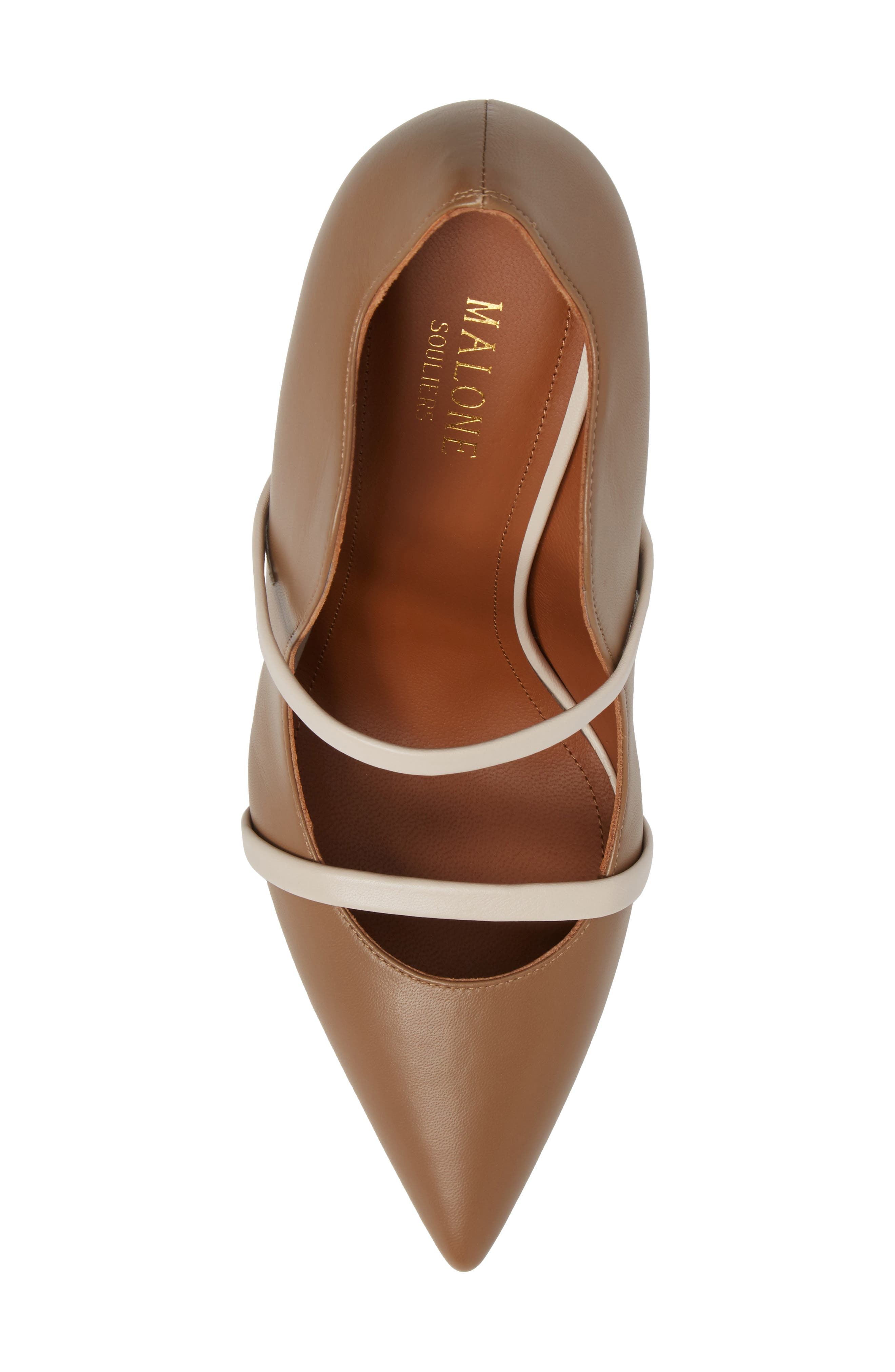 Maureen Double Band Pump,                             Alternate thumbnail 5, color,                             Chocolate/ White Leather