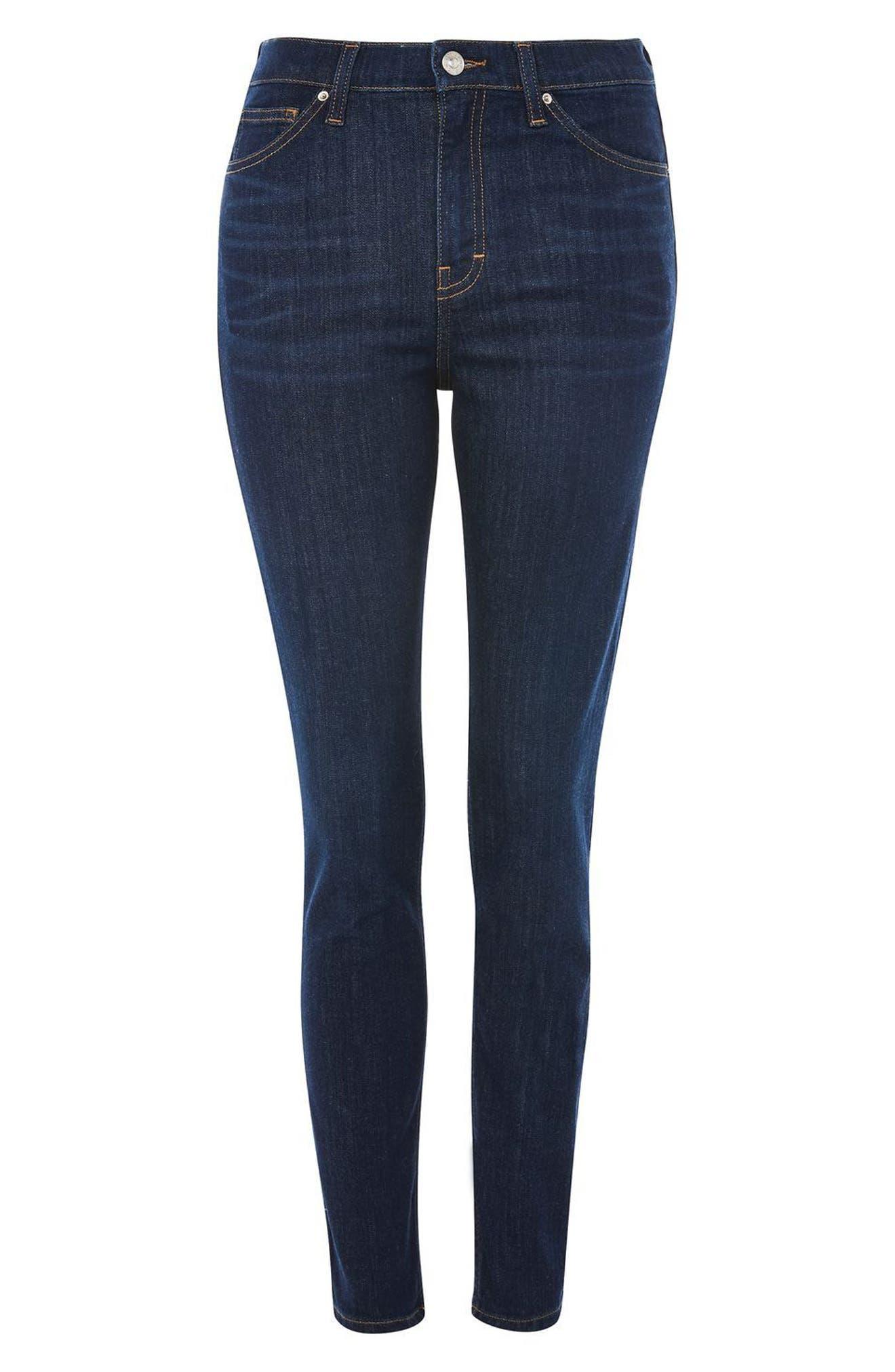 Jamie High Waist Ankle Skinny Jeans,                             Alternate thumbnail 4, color,                             Dark Denim