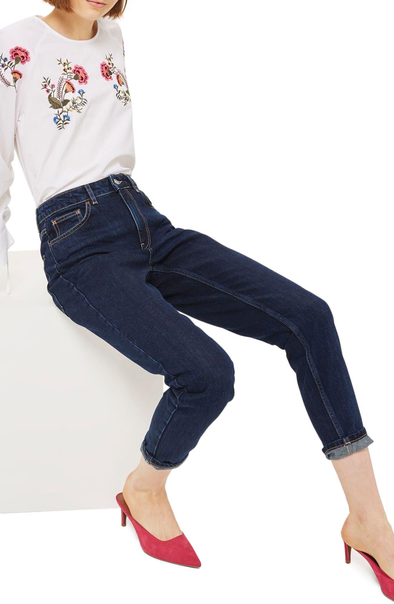 Mom Jeans,                             Alternate thumbnail 2, color,                             Dark Denim