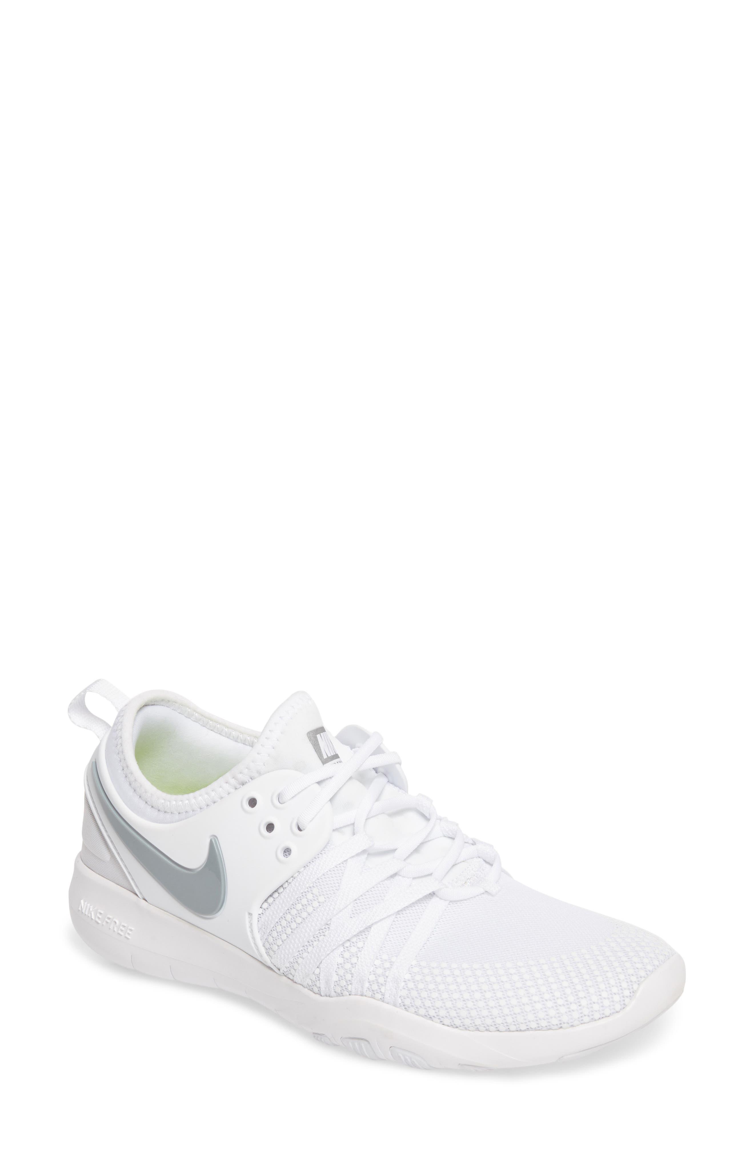 Free TR 7 Training Shoe,                         Main,                         color, White/ Metallic Silver