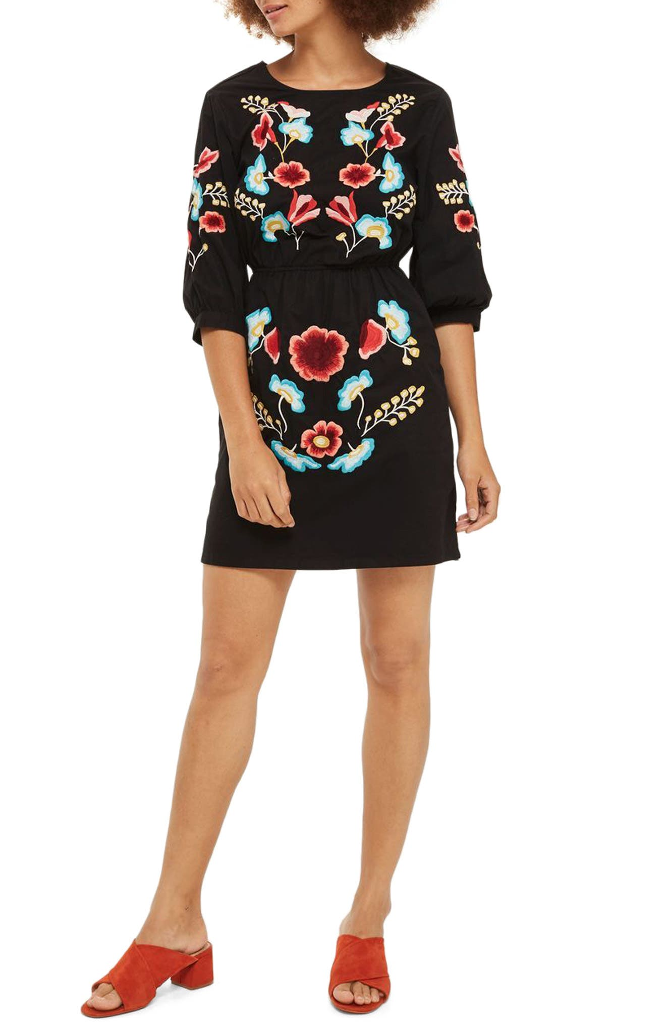 Topshop Embroidered Blouson Sleeve Dress