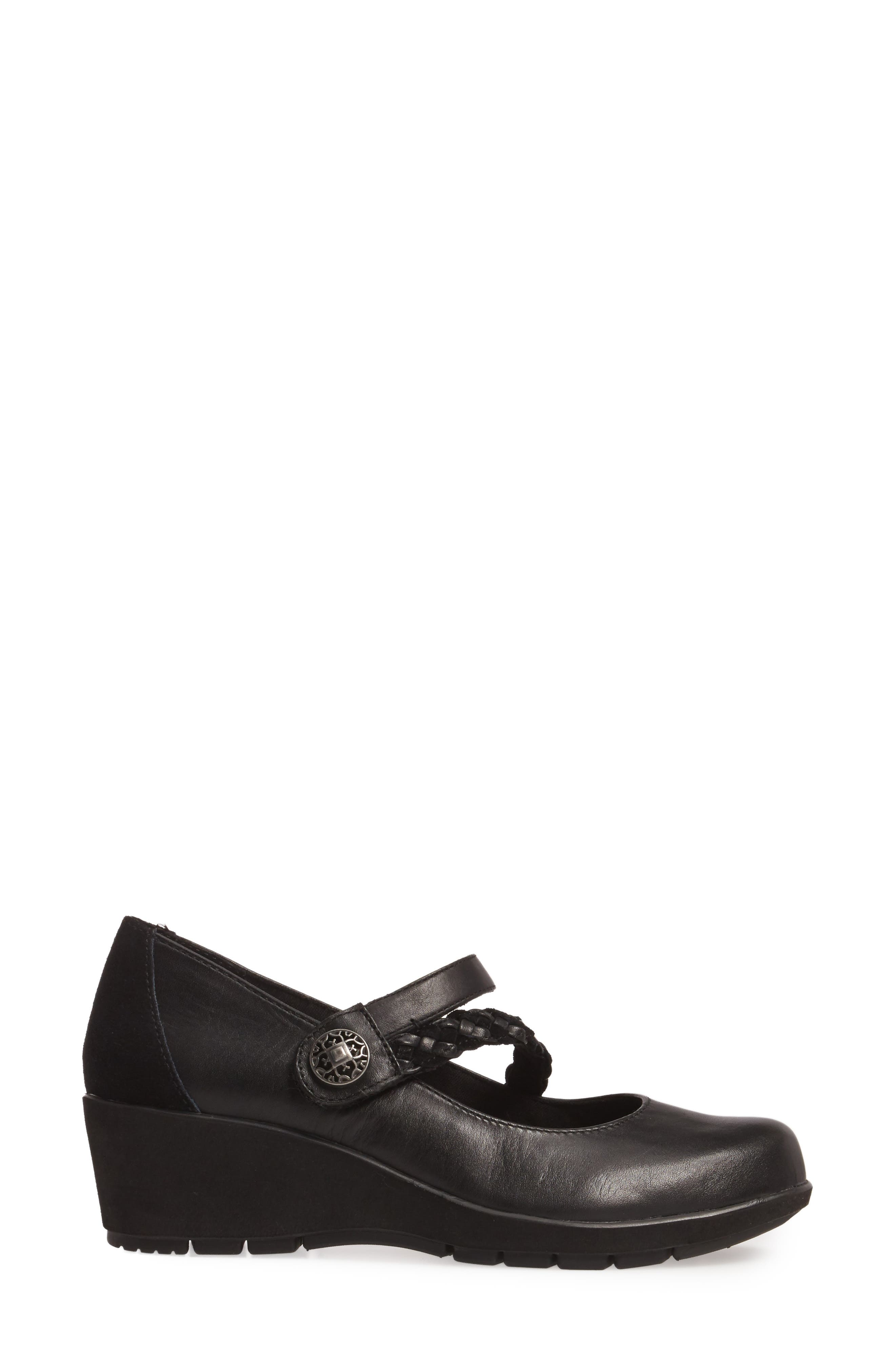 Ivy Mary Jane Wedge,                             Alternate thumbnail 3, color,                             Black Leather