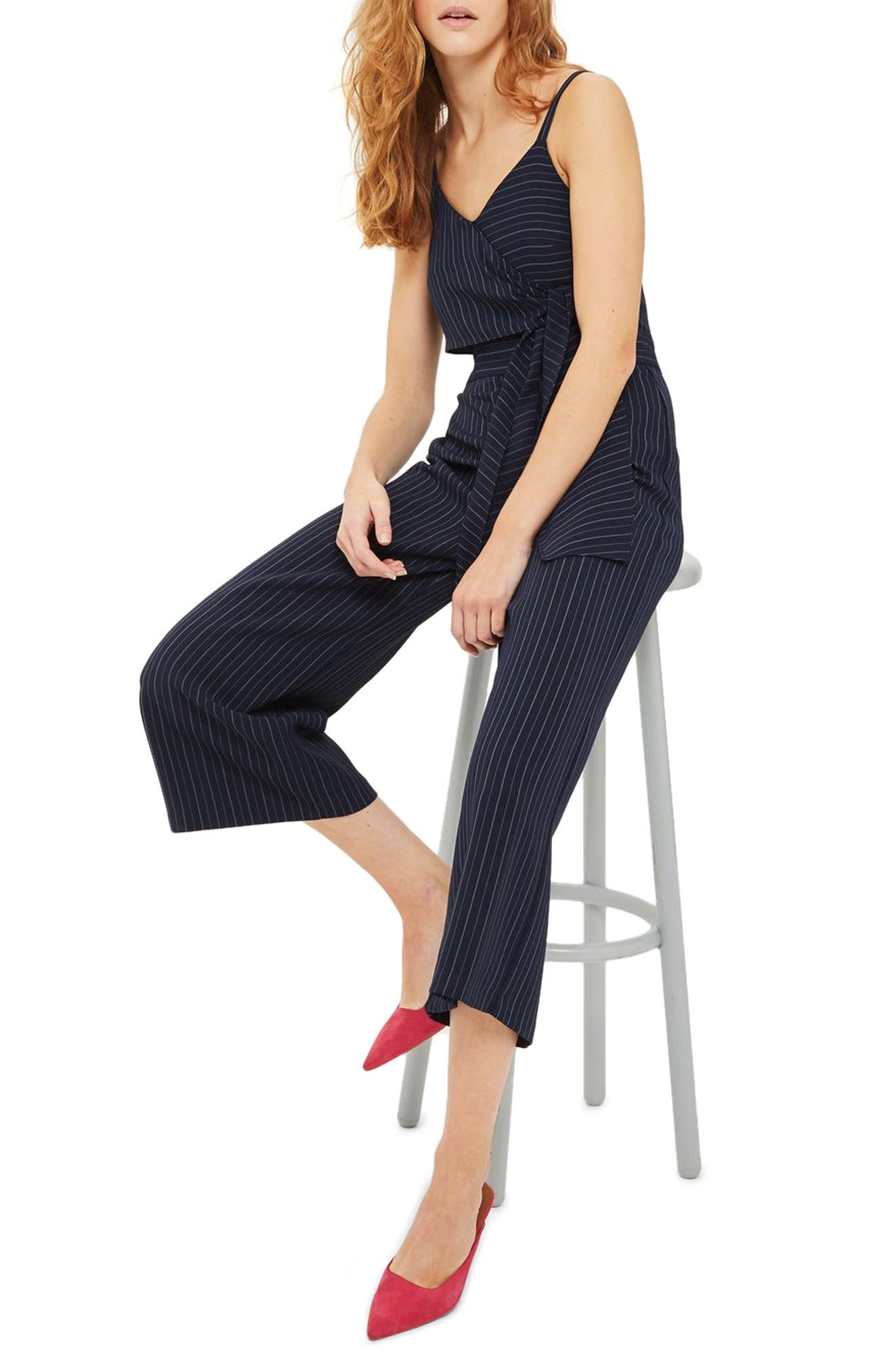 Pinstripe Tie Waist Jumpsuit,                             Main thumbnail 1, color,                             Navy Blue