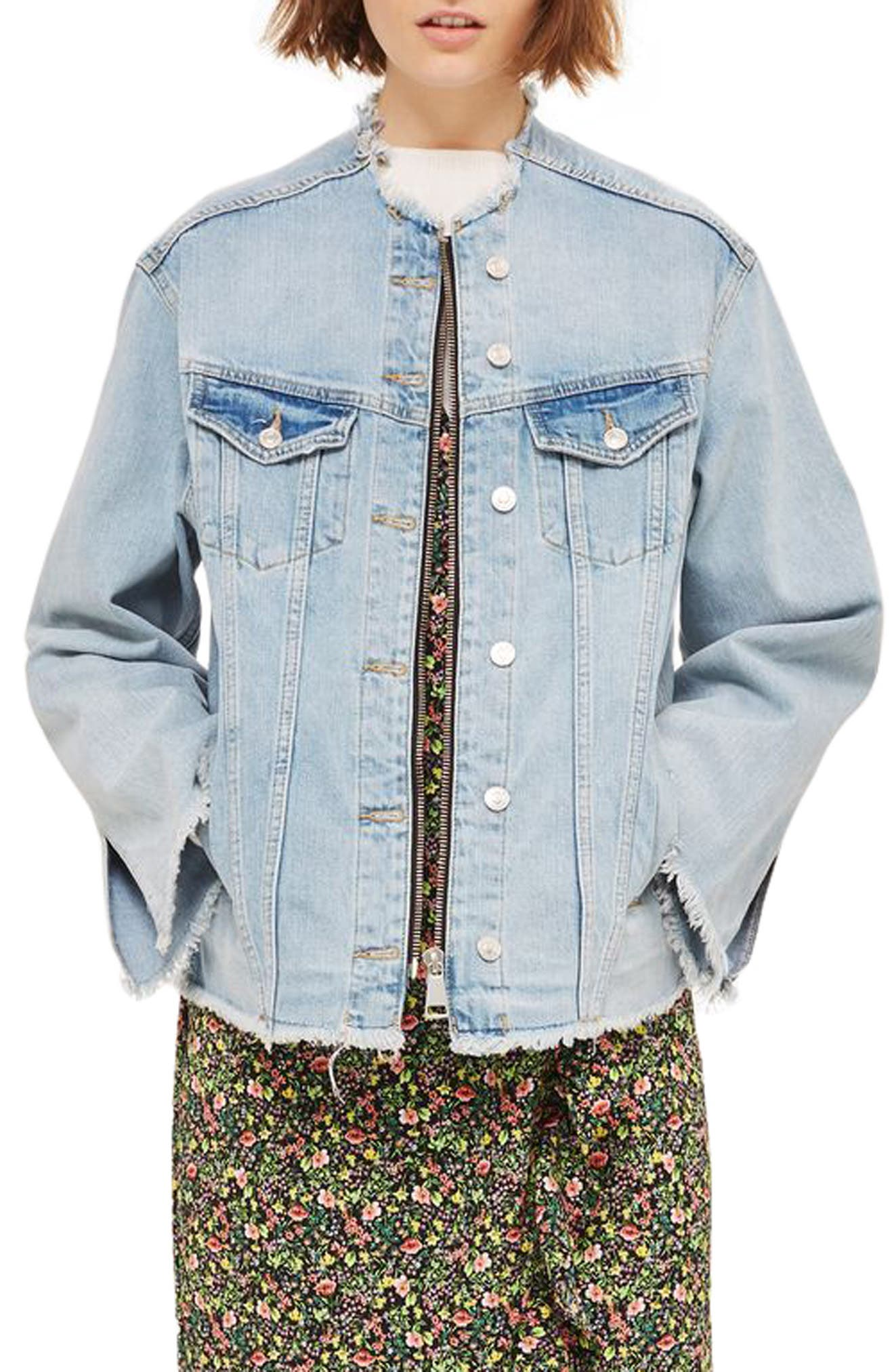 Zip Through Denim Jacket,                             Main thumbnail 1, color,                             Mid Denim