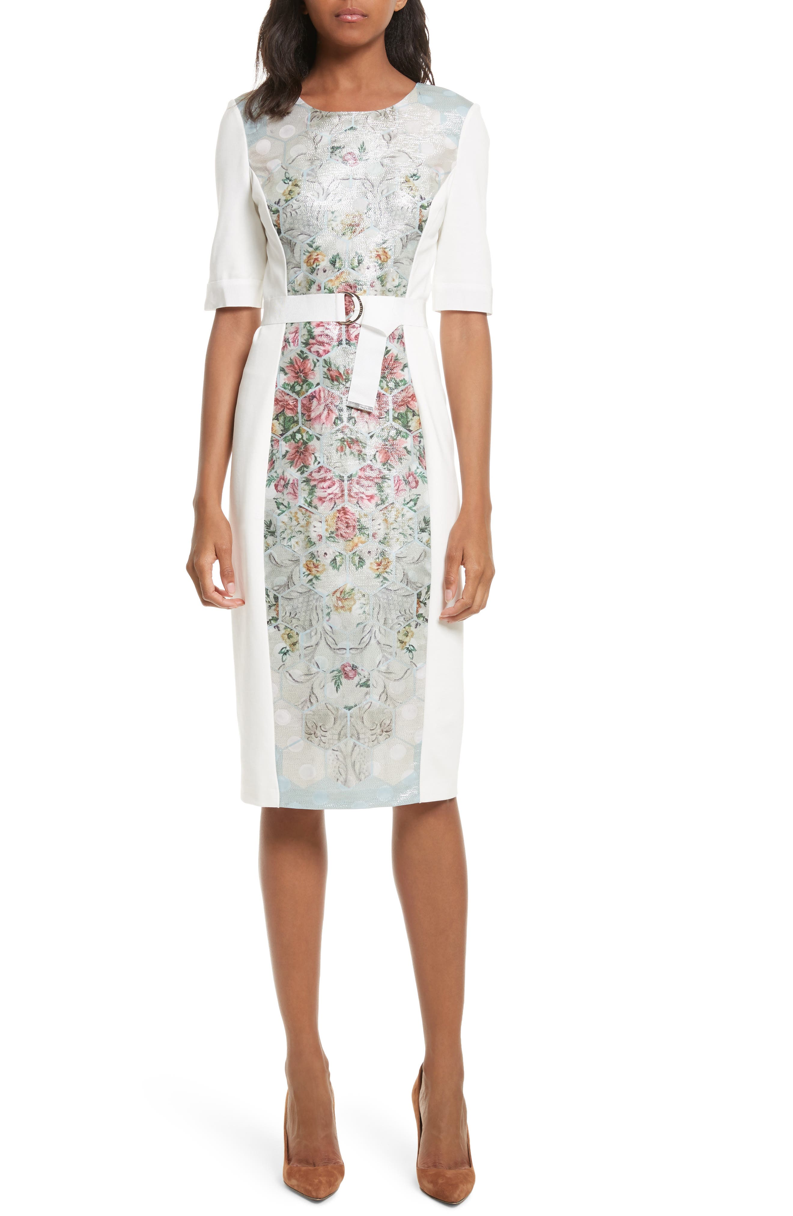 Patchwork Body-Con Dress,                         Main,                         color, Pale Blue