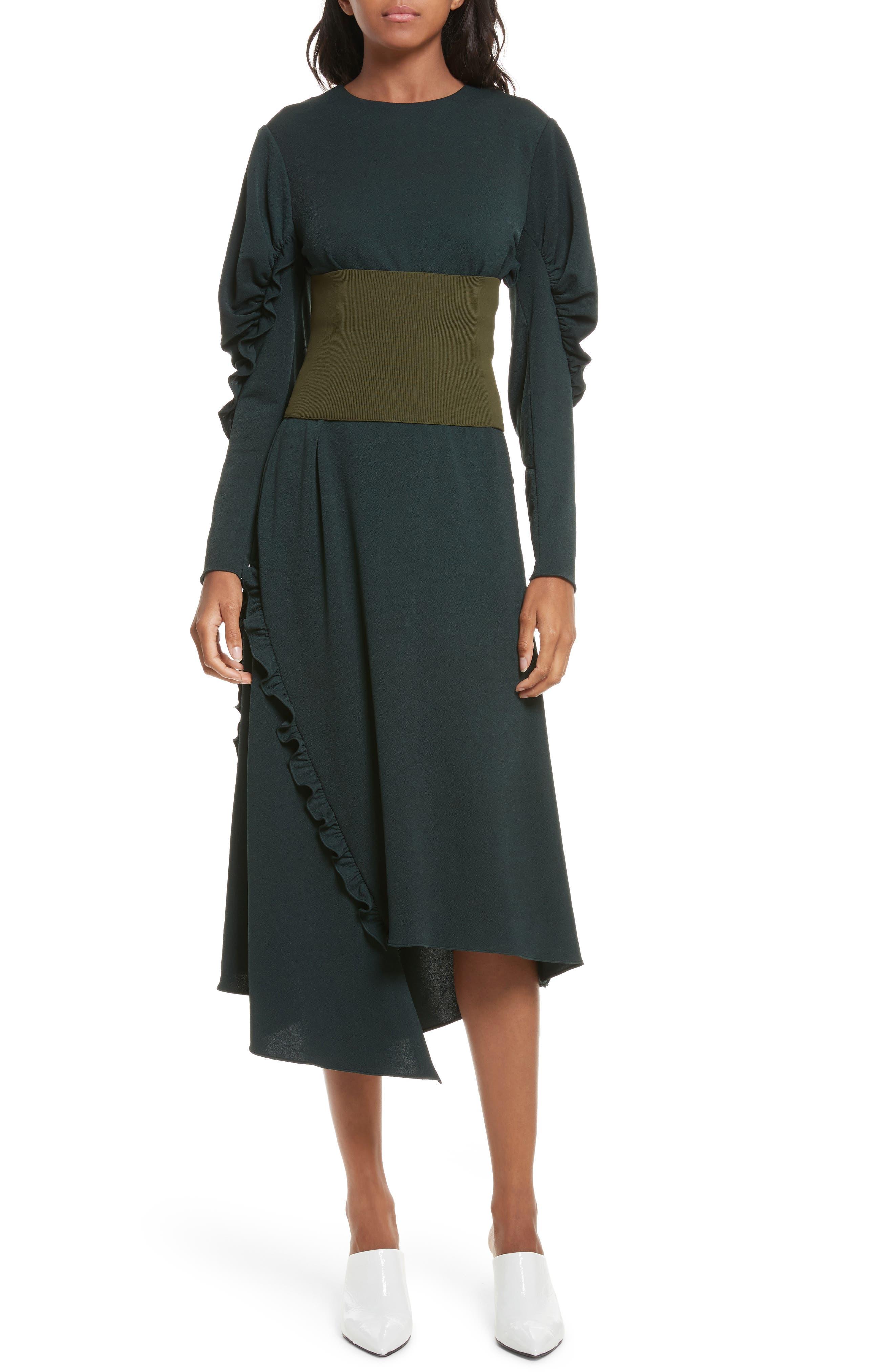 Lace-Up Knit Corset,                         Main,                         color, Loden