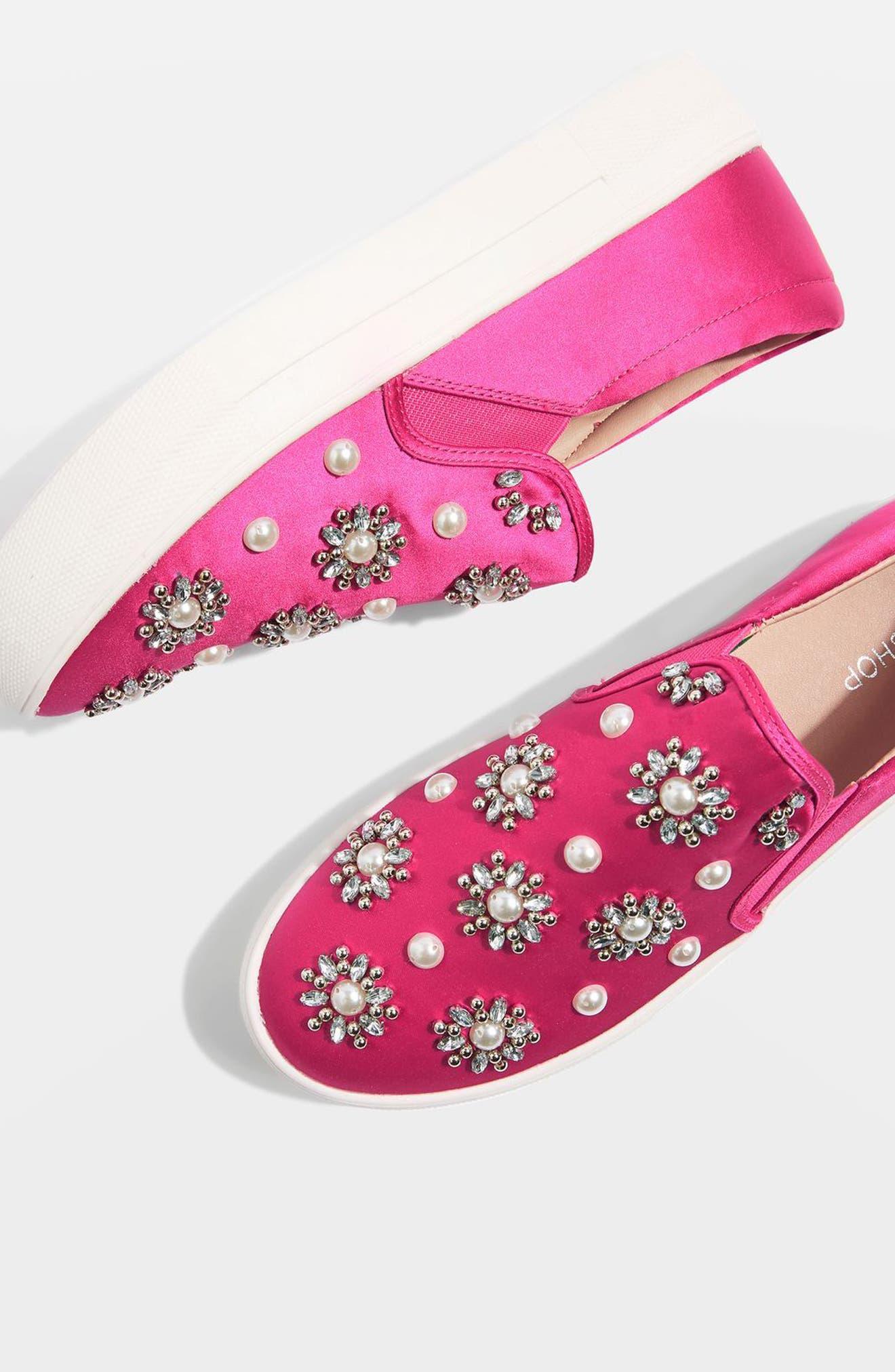 Tilt Embellished Slip-On Sneaker,                             Alternate thumbnail 8, color,                             Pink Multi