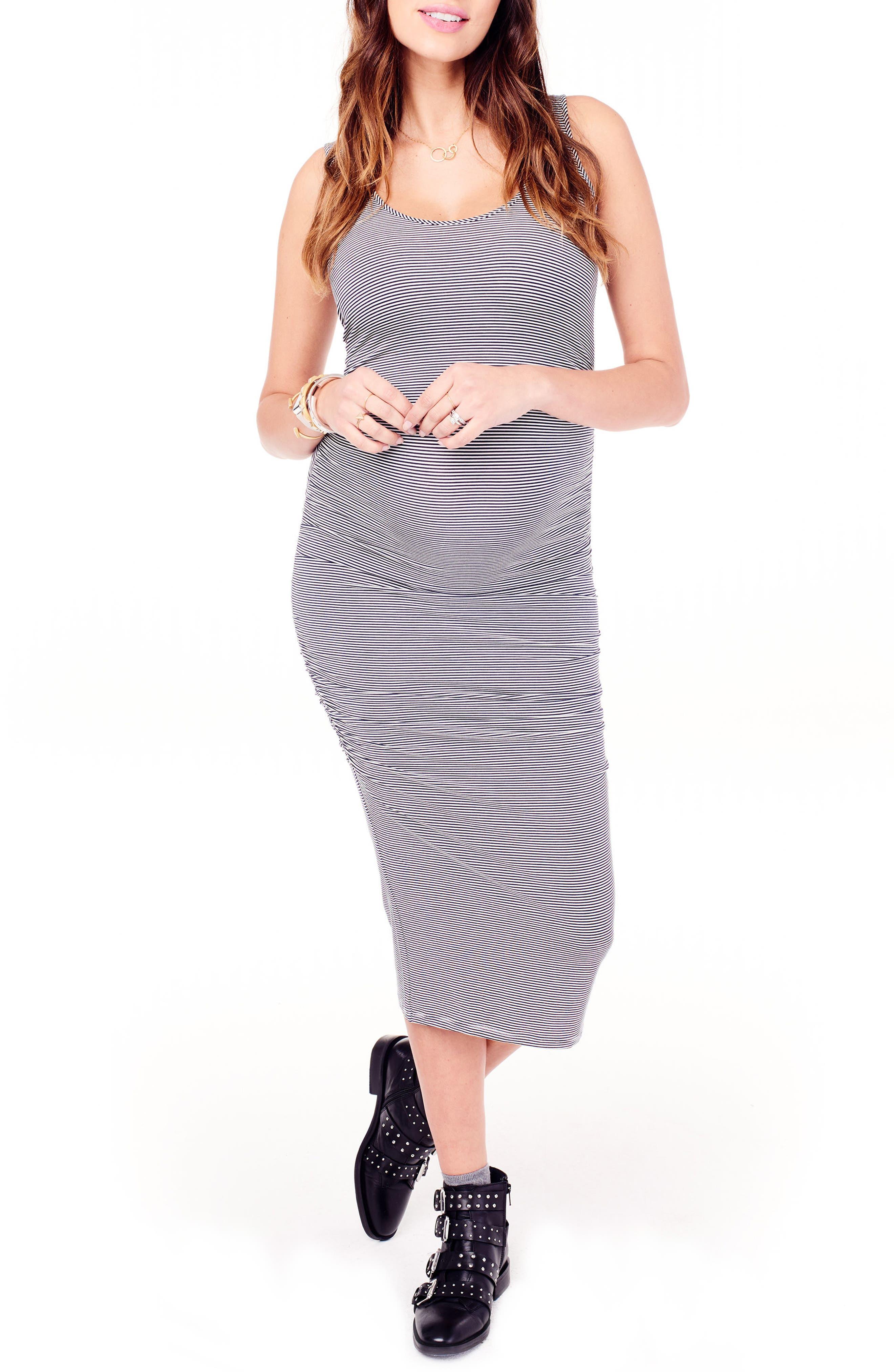 Shirred Midi Maternity Tank Dress,                             Alternate thumbnail 2, color,                             True Navy/ Ivory Microstripe