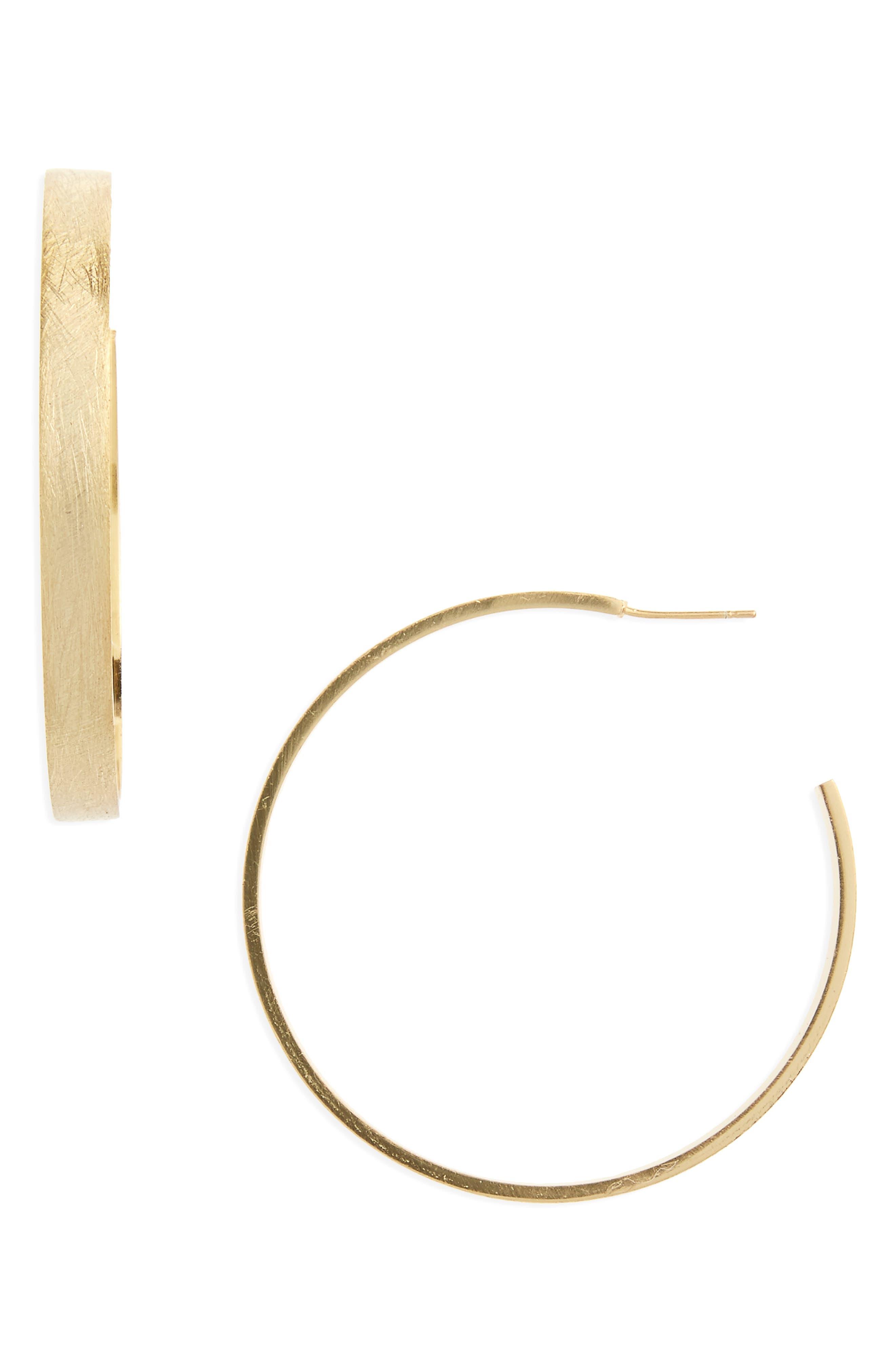 Main Image - Halogen® Large Brushed J-Hoop Earrings