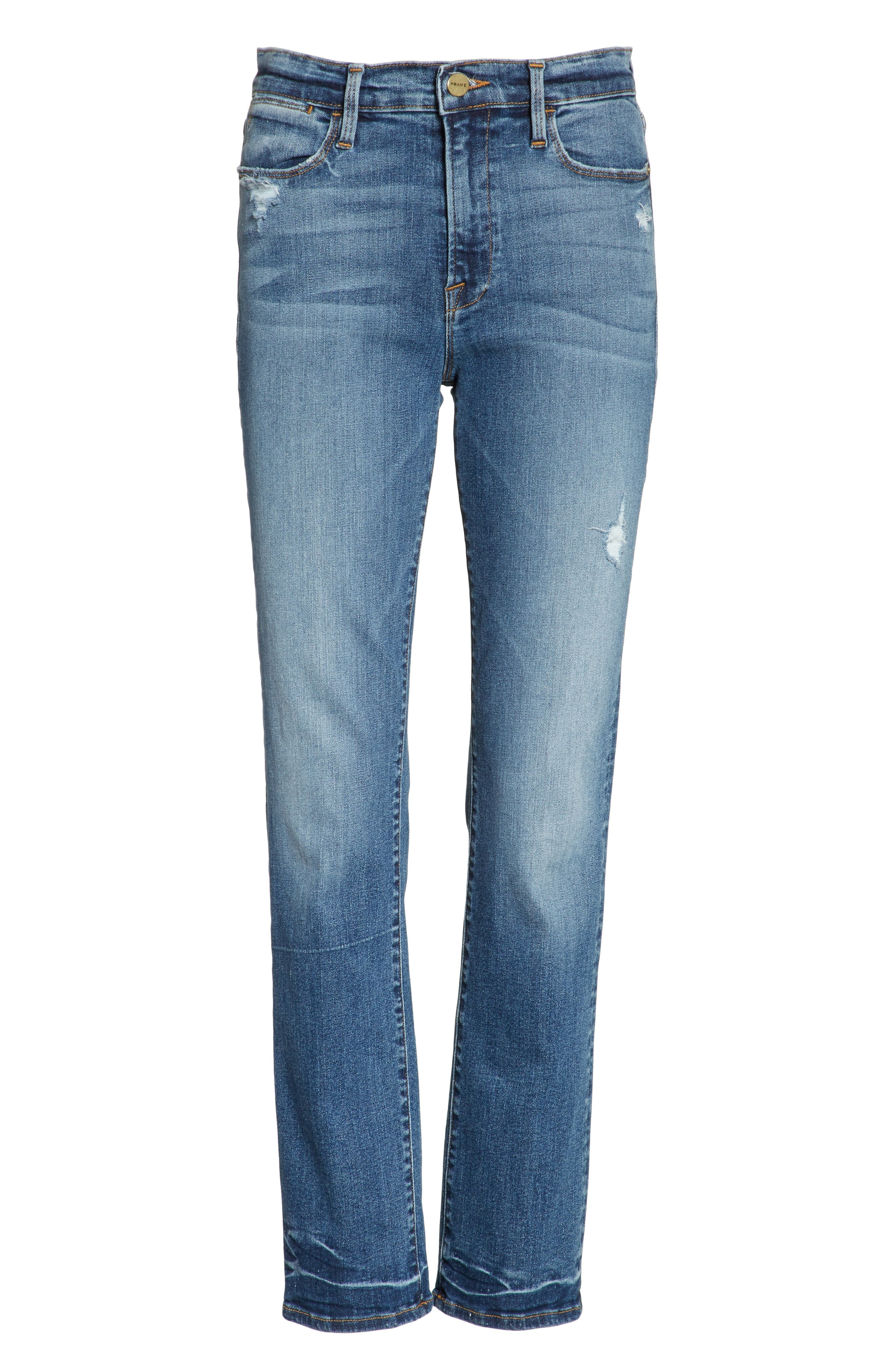 Le High Straight High Waist Crop Jeans,                             Alternate thumbnail 7, color,                             Whitwell