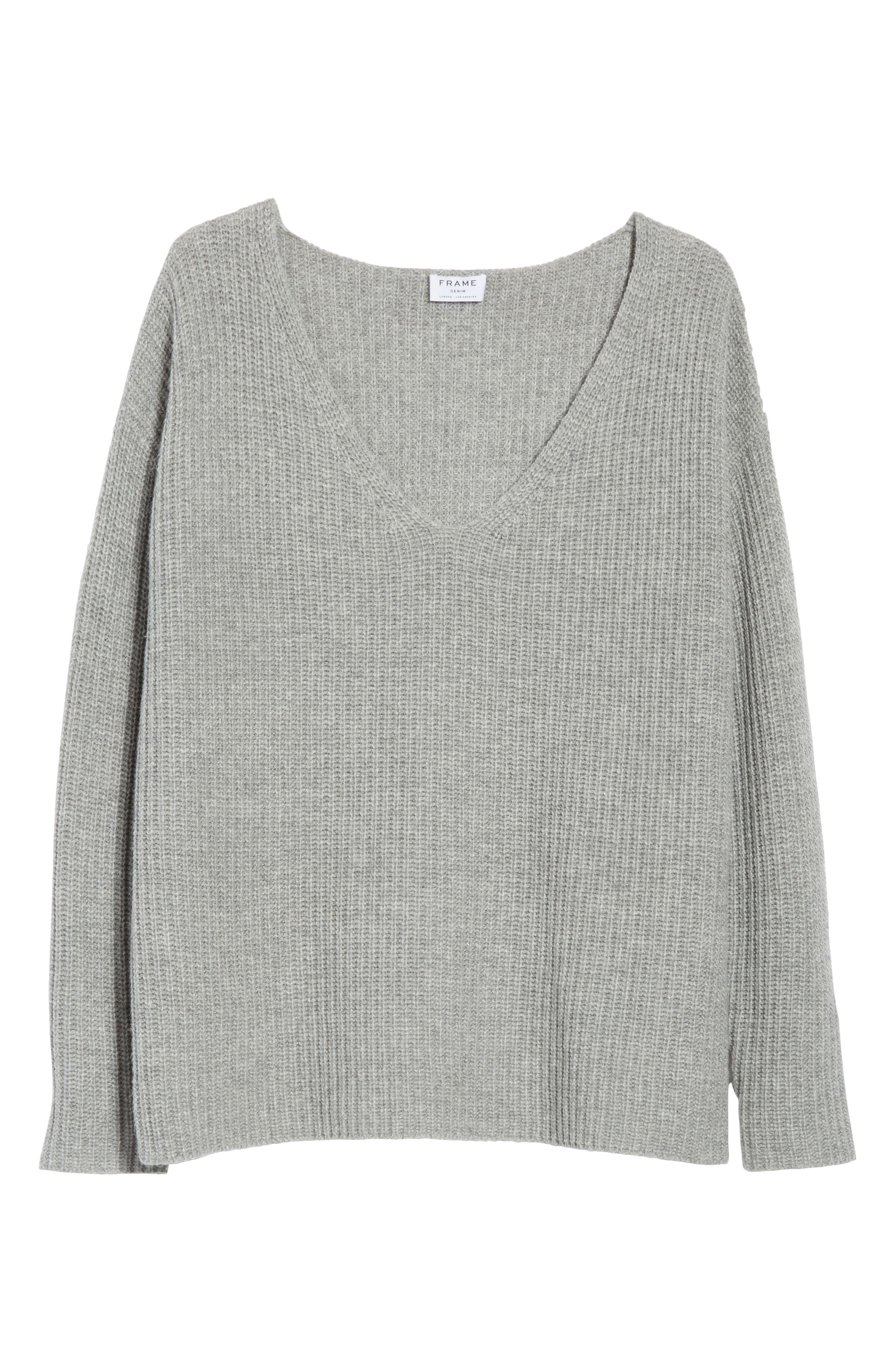Oversize V-Neck Sweater,                             Alternate thumbnail 7, color,                             Gris