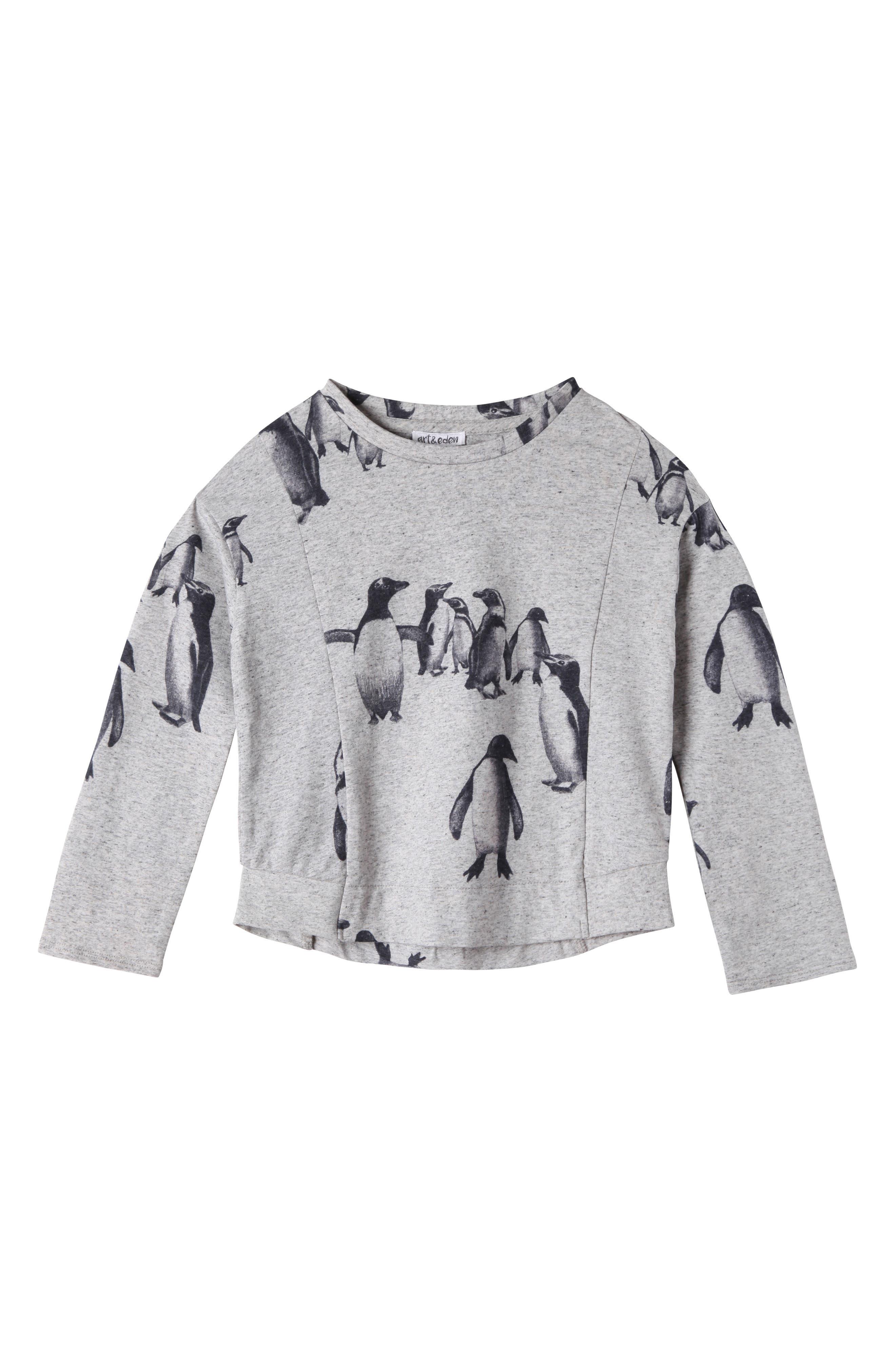 Eva Penguin Print Tee,                         Main,                         color, Grey