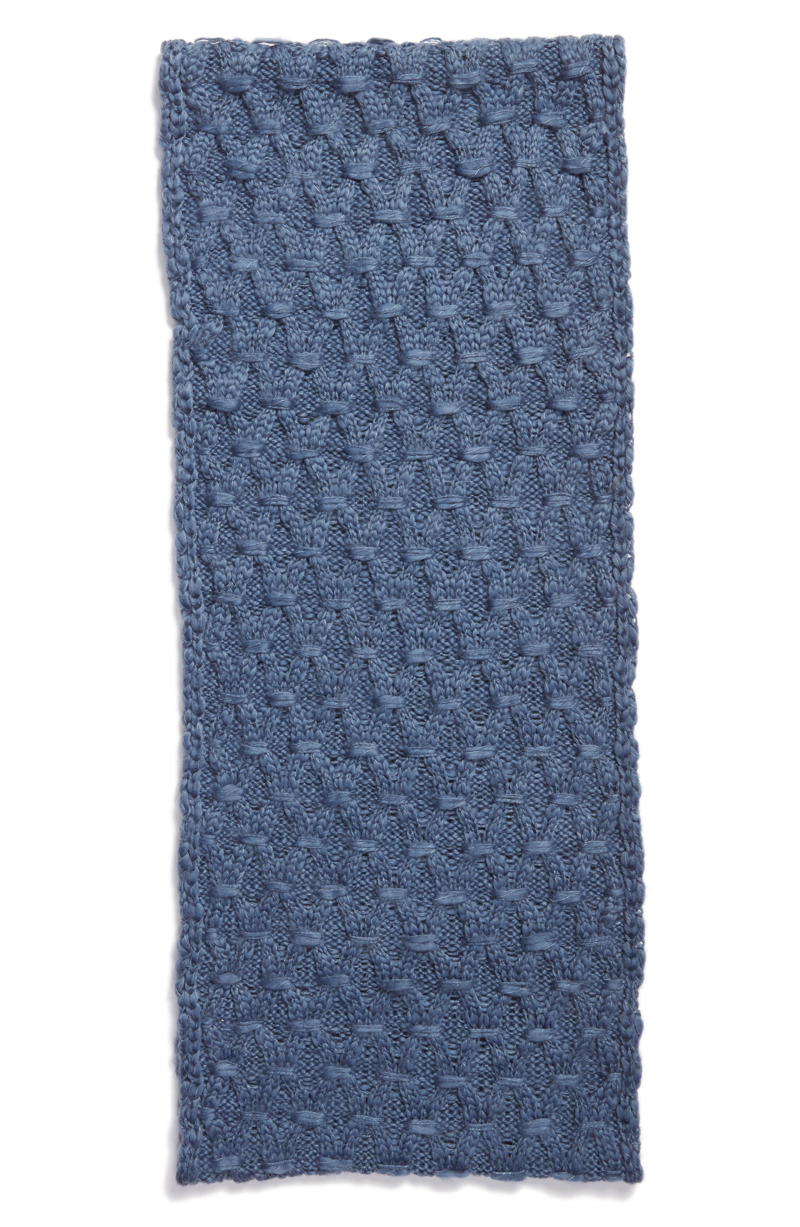 Solid Chunky Knit Infinity Scarf,                             Alternate thumbnail 3, color,                             Blue Bijou