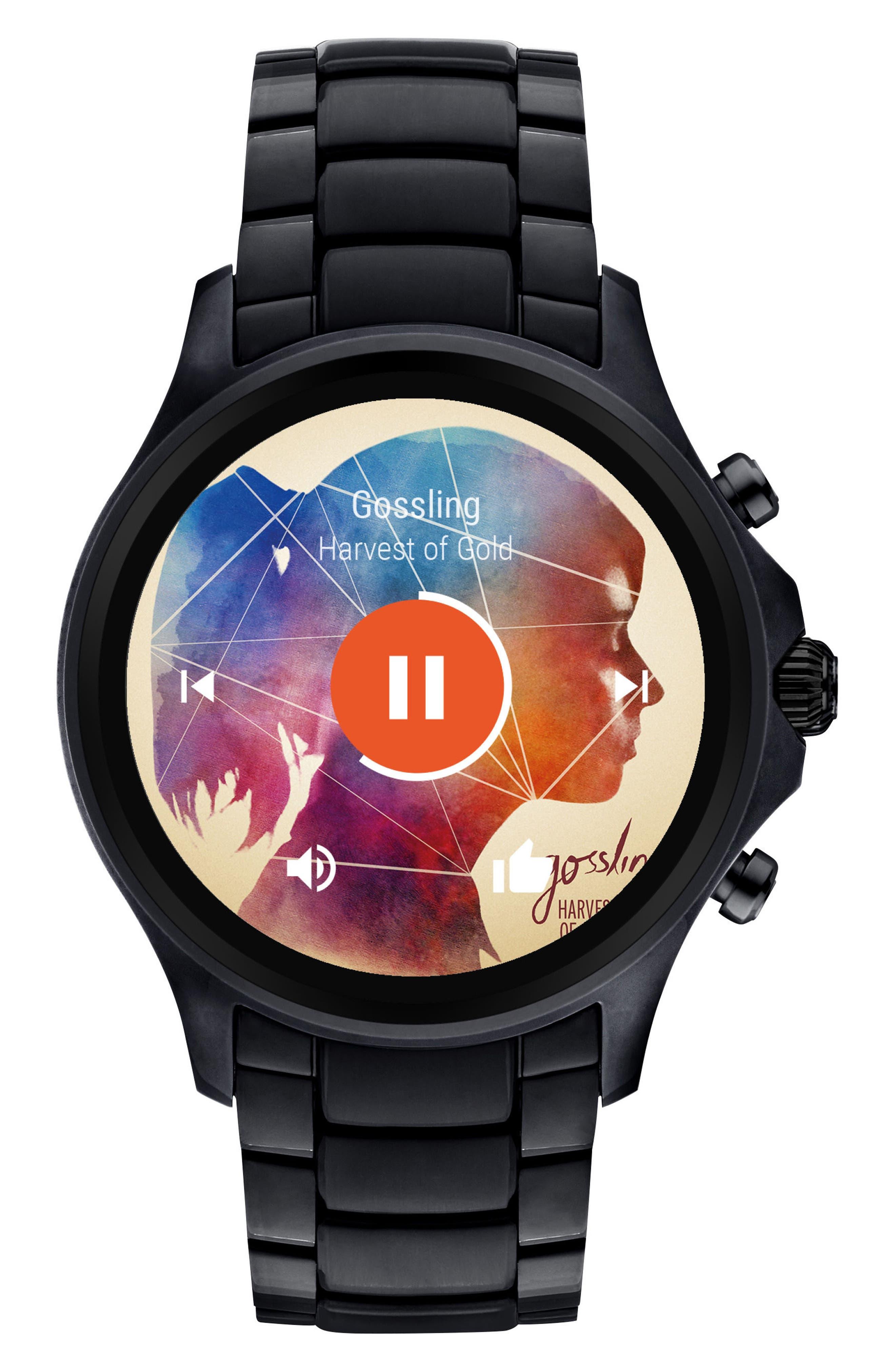 Touchscreen Bracelet Smartwatch, 46mm,                             Alternate thumbnail 2, color,                             Black/ Black