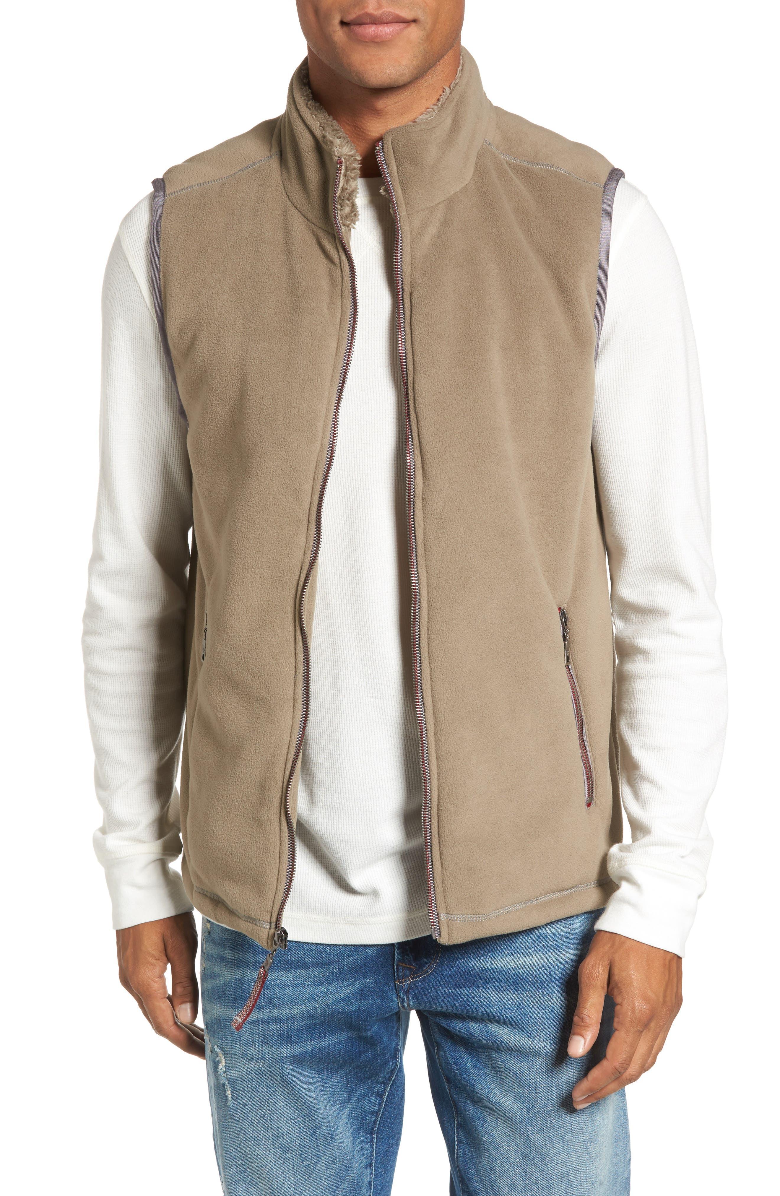 Fleece Vest with Faux Fur Lining,                         Main,                         color, Gravel