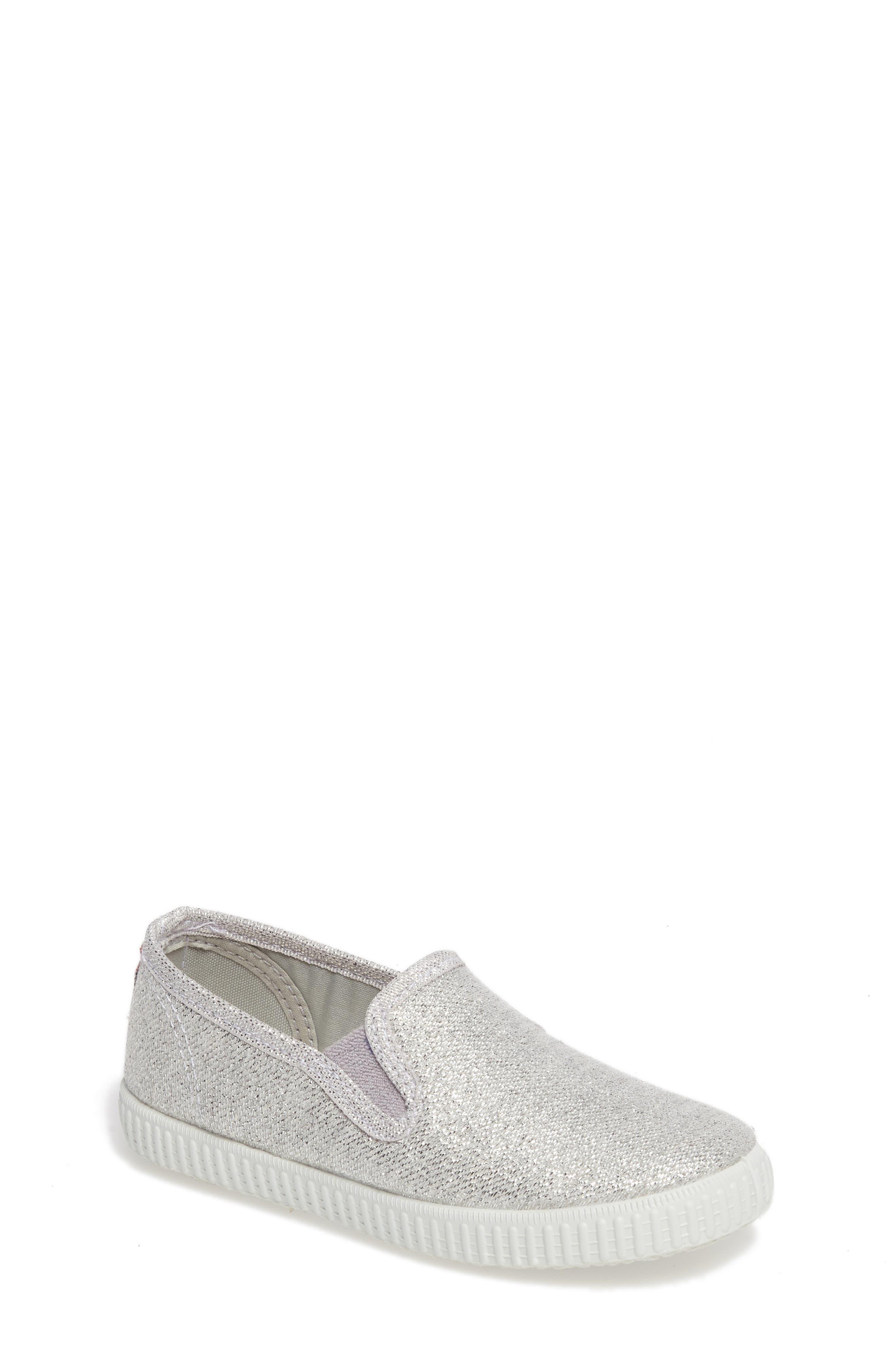 Glitter Slip-On Sneaker,                             Main thumbnail 1, color,                             Silver