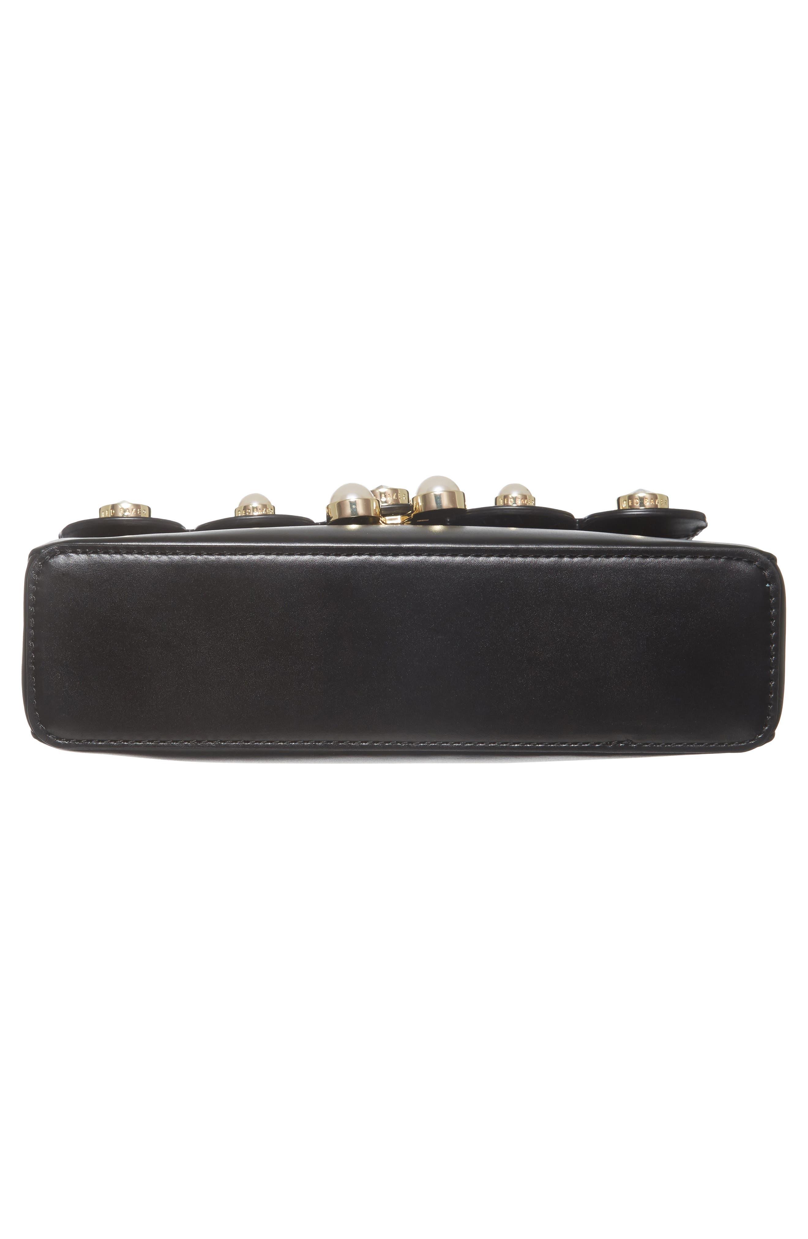 Saraa Leather Crossbody Bag,                             Alternate thumbnail 5, color,                             Black