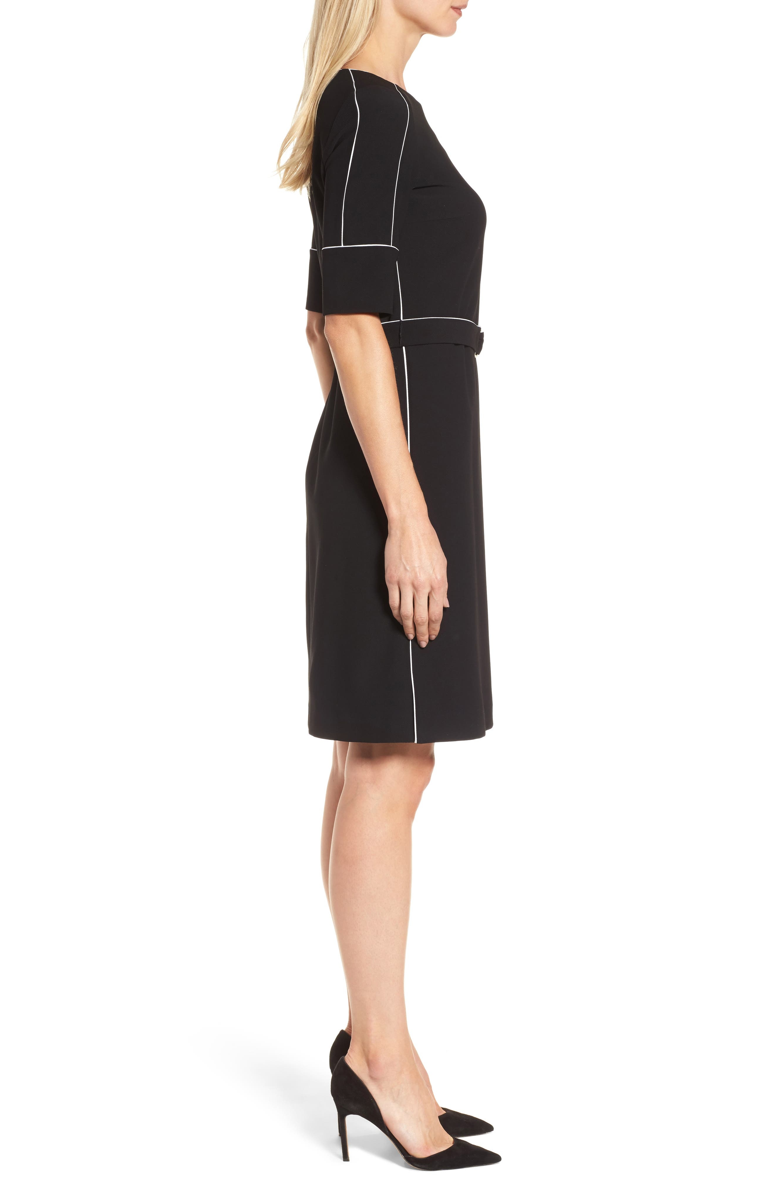 Duwimea Seamed Pencil Dress,                             Alternate thumbnail 3, color,                             Black